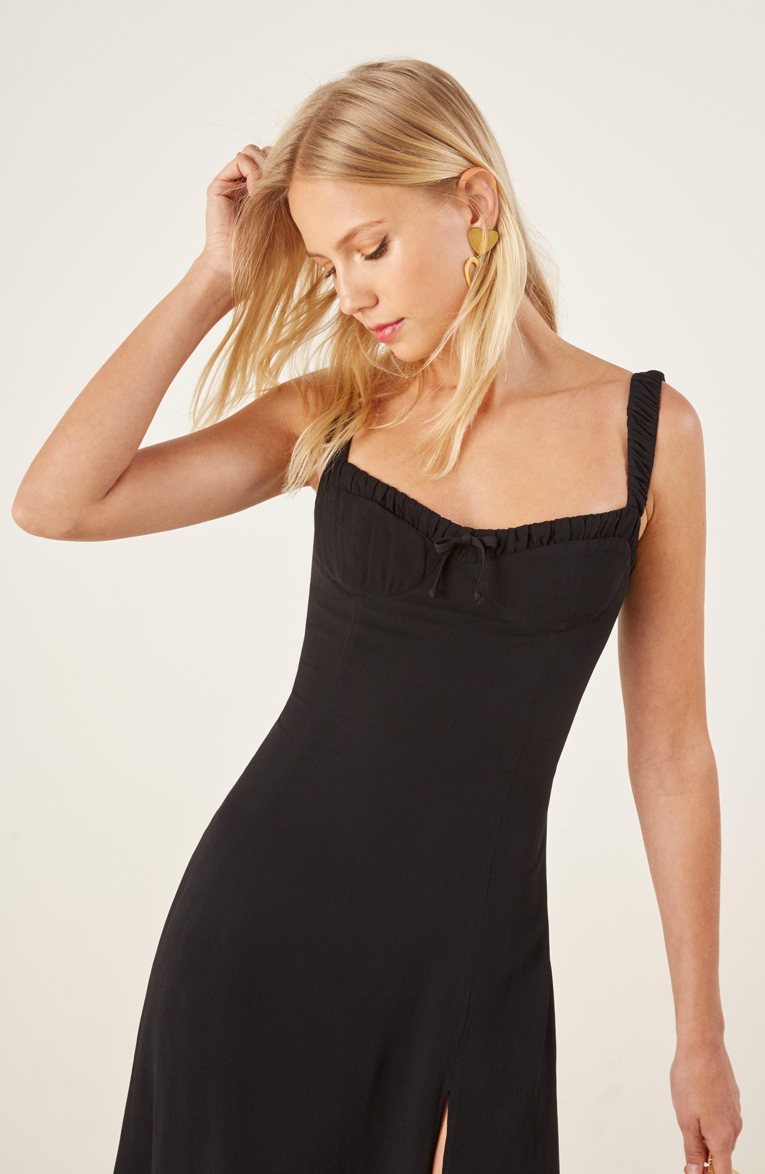 Peridot Side Slit Dress,                             Alternate thumbnail 2, color,                             BLACK