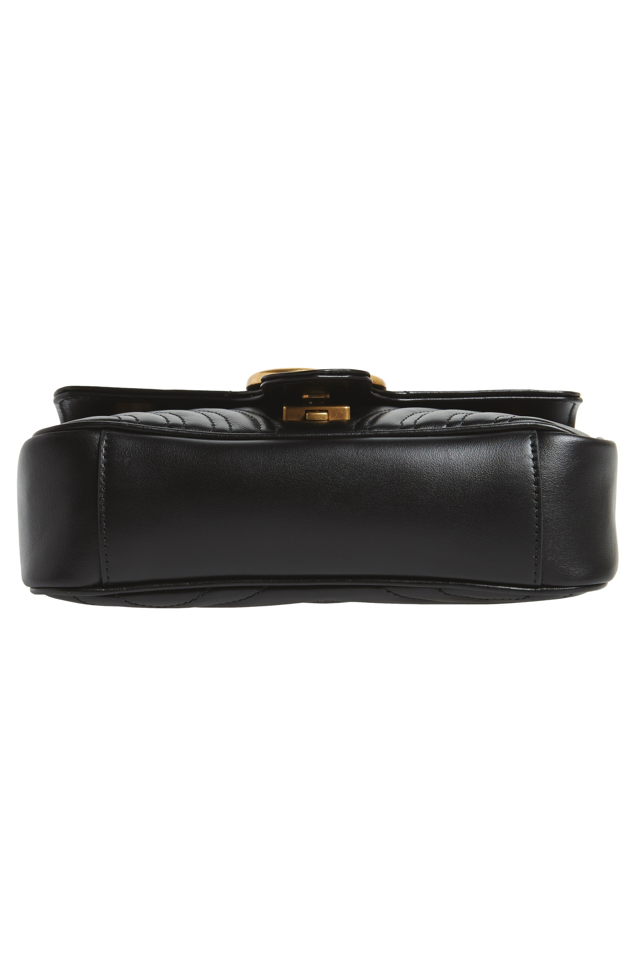 Mini GG Marmont 2.0 Matelassé Leather Shoulder Bag,                             Alternate thumbnail 6, color,                             NERO