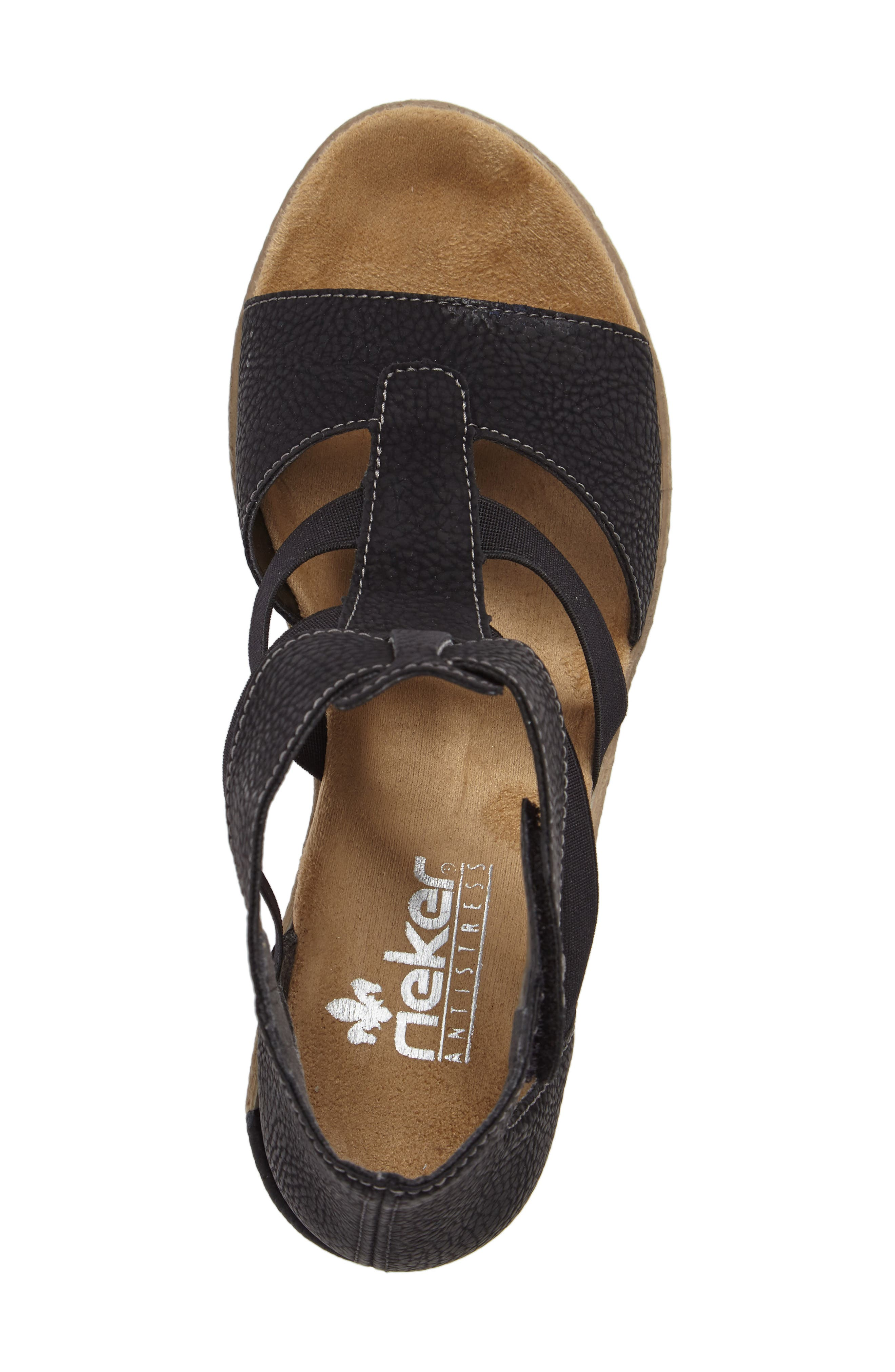 RIEKER ANTISTRESS,                             Fanni 39 Wedge Sandal,                             Alternate thumbnail 5, color,                             001