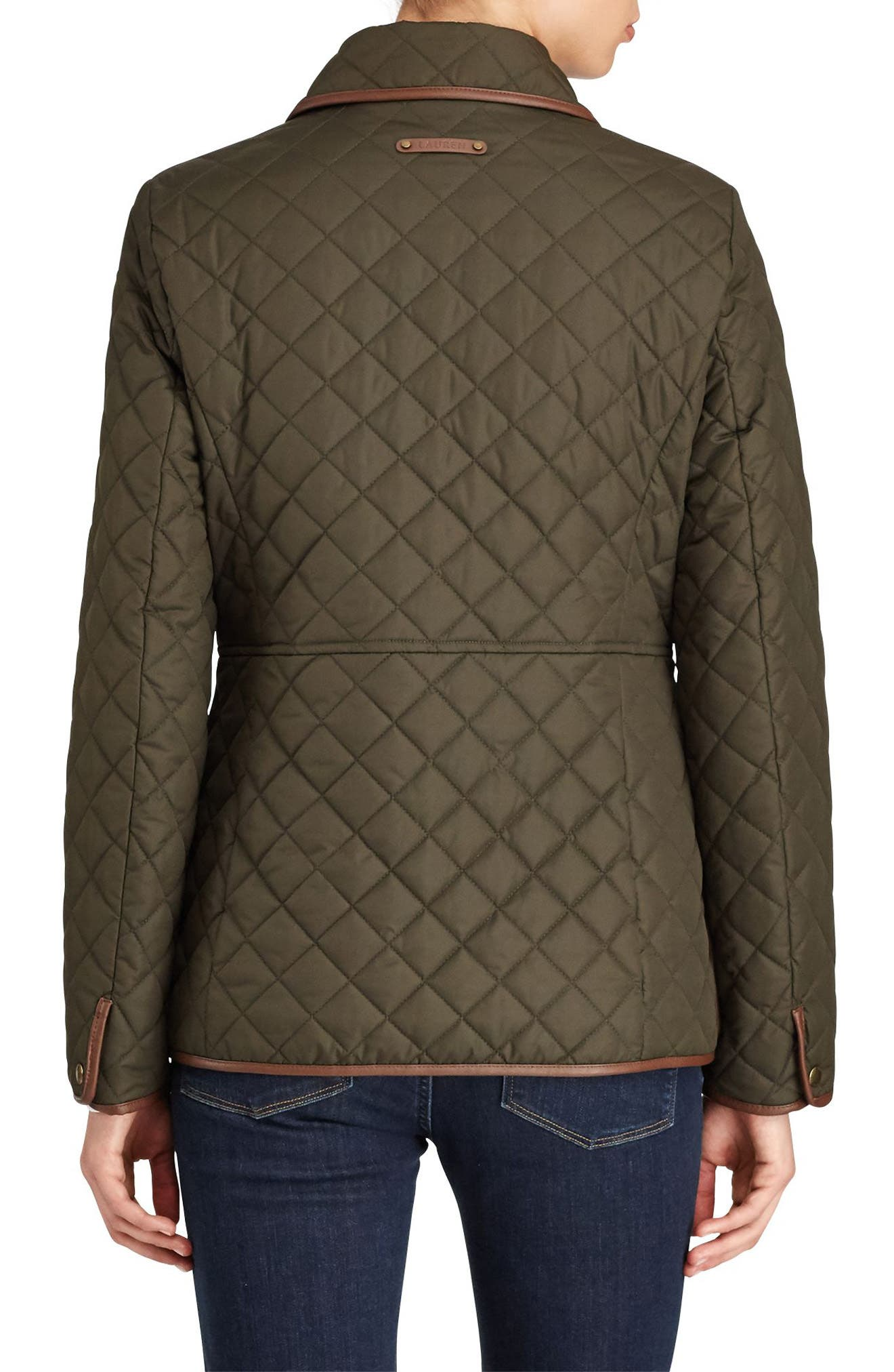 Faux Leather Trim Quilted Jacket,                             Alternate thumbnail 2, color,                             LITCHFIELD LODEN