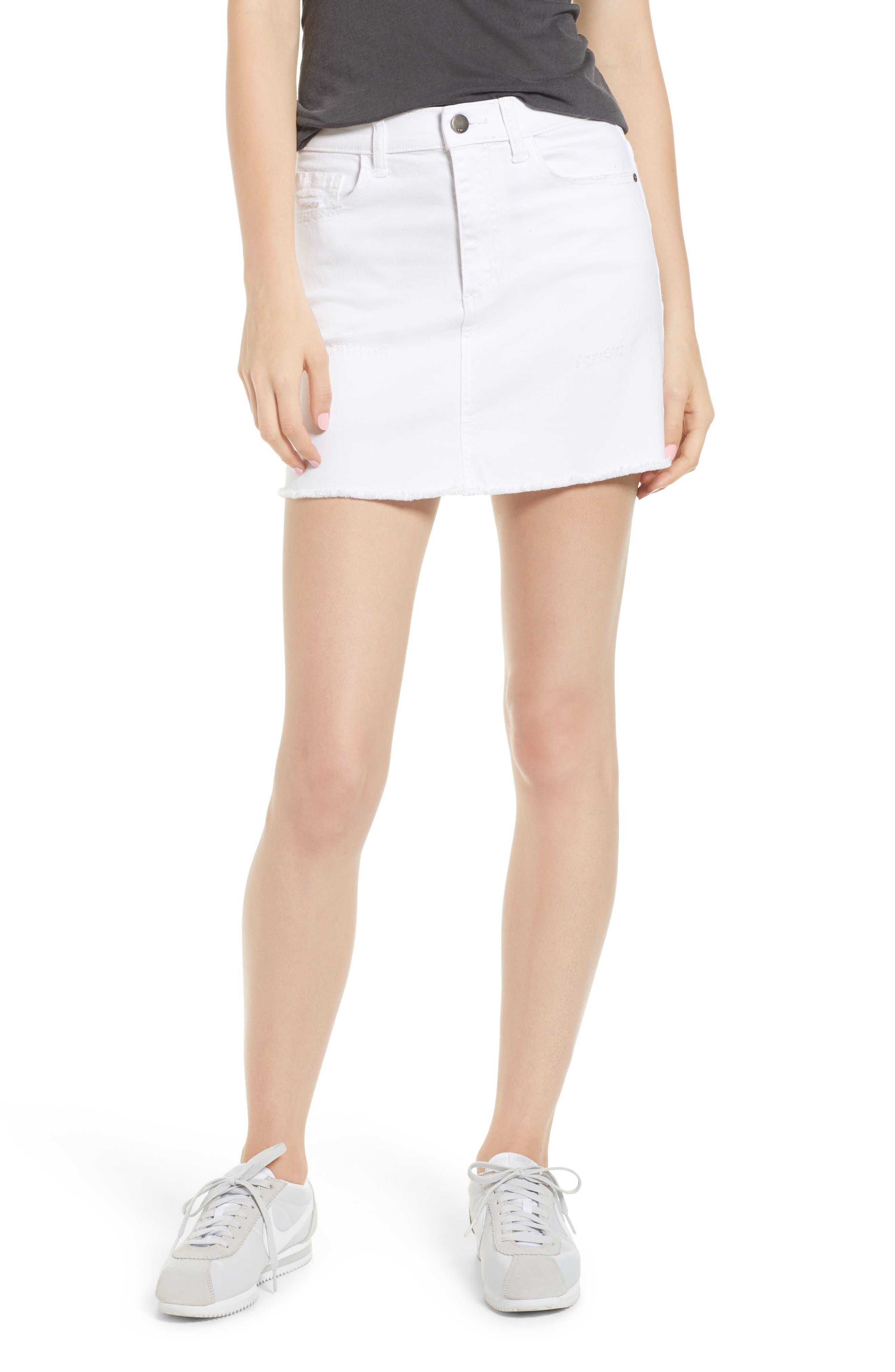 Raw Hem Denim Miniskirt,                             Main thumbnail 1, color,                             100