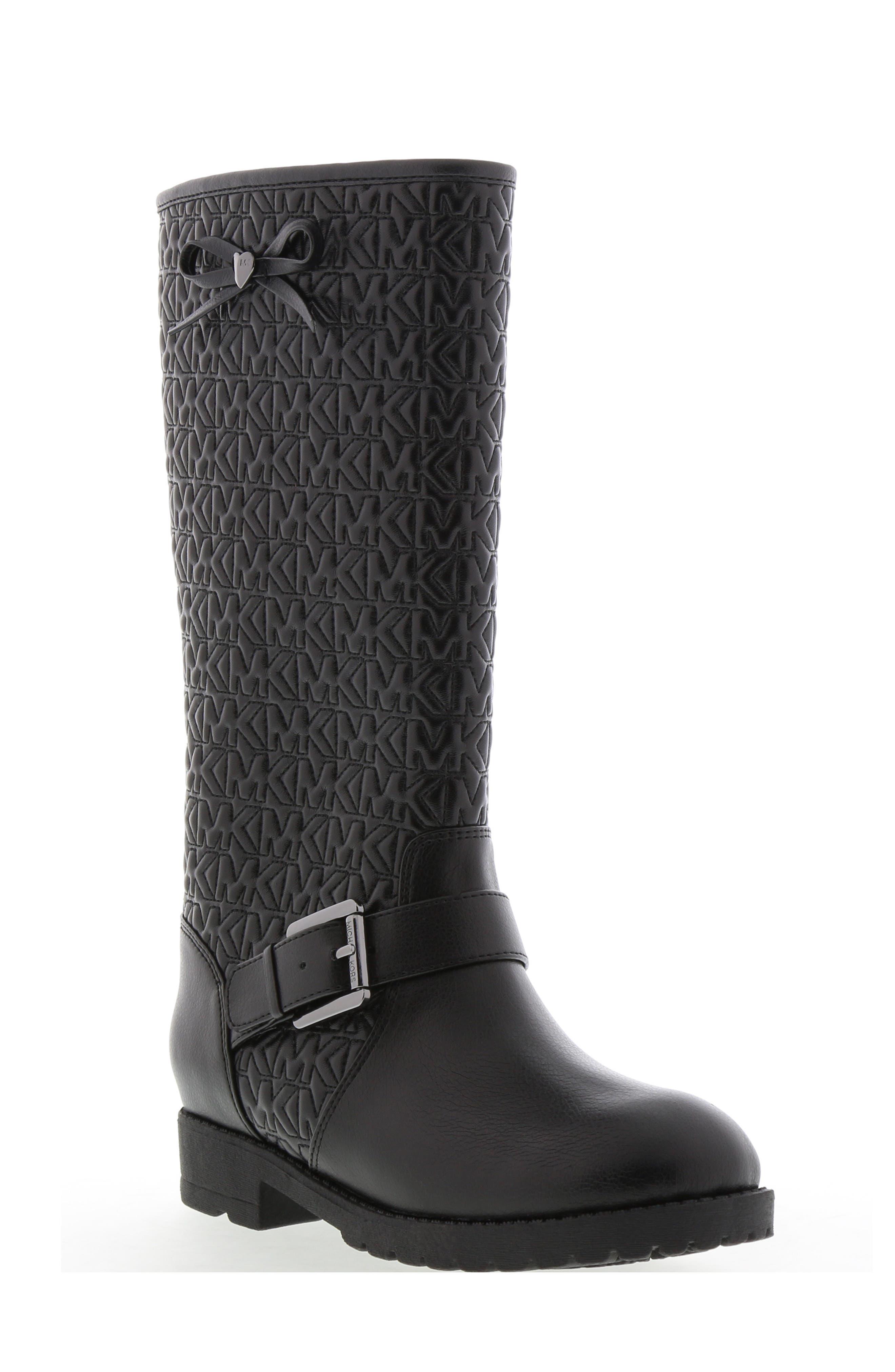 Toddler Girls Michael Michael Kors Dhalia Dearest Faux Leather Riding Boot Size 6 M  Black