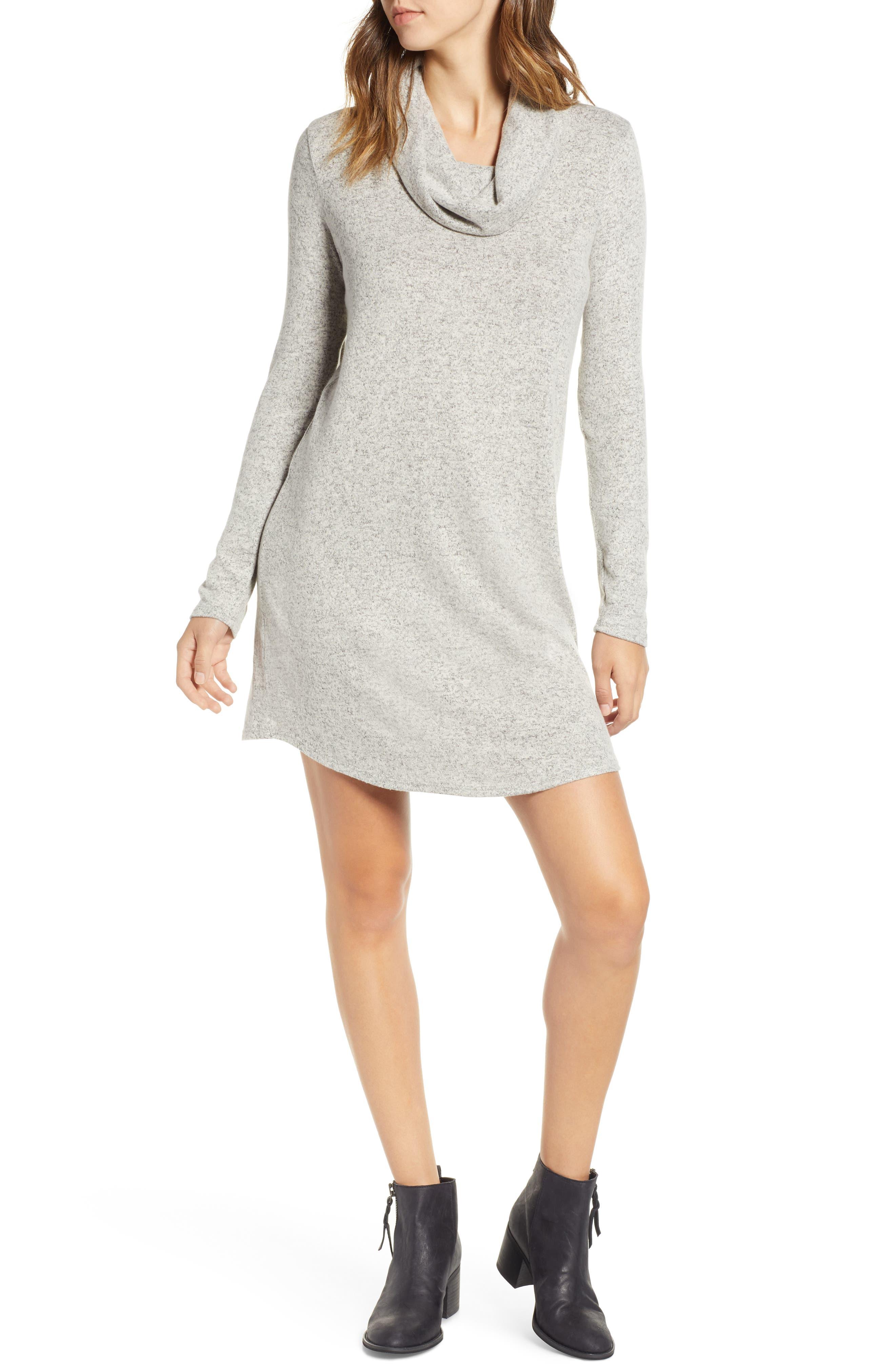 Socialite Cowl Neck Knit Dress, Beige