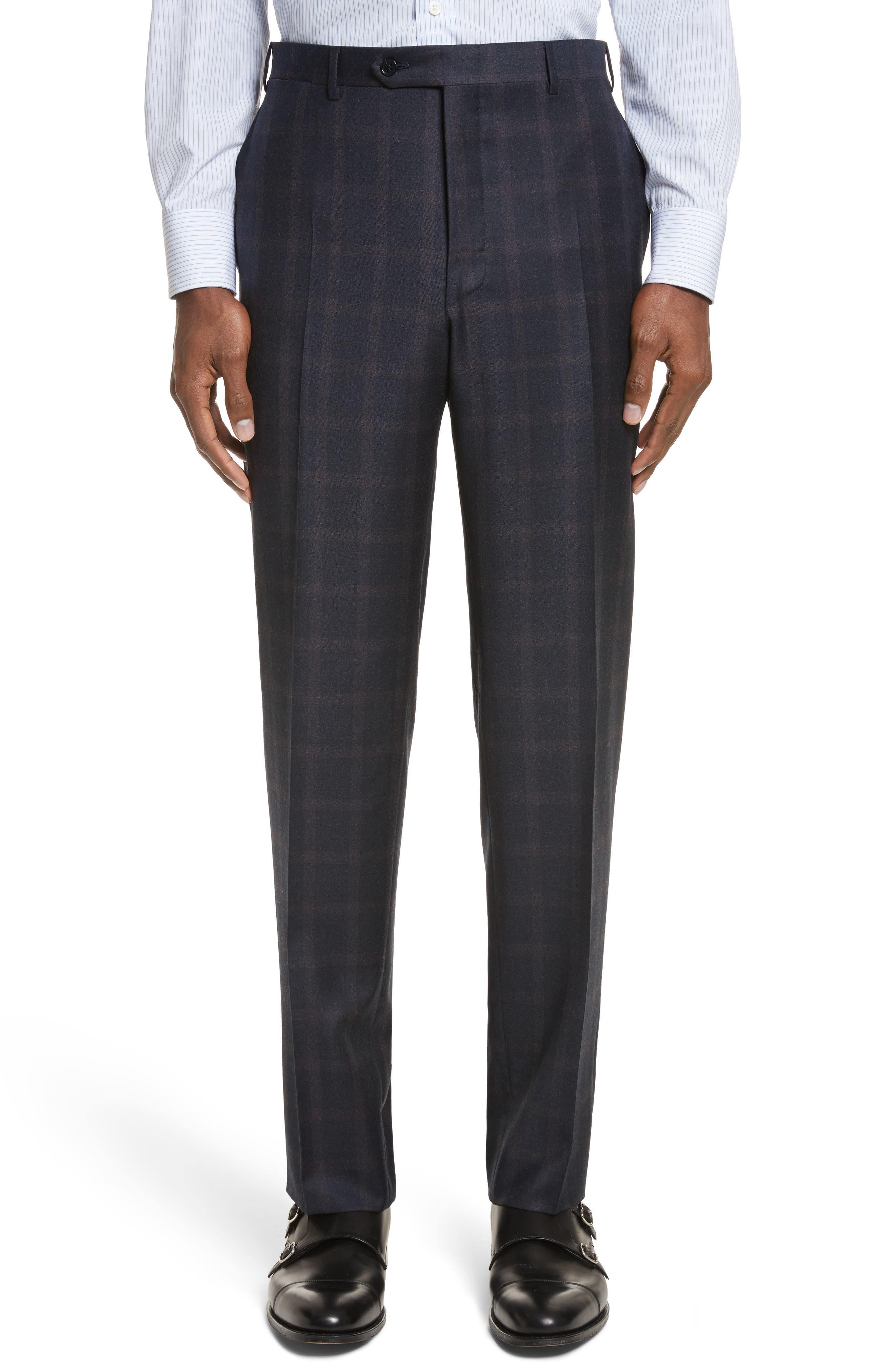 Classic Fit Plaid Wool Suit,                             Alternate thumbnail 6, color,                             420