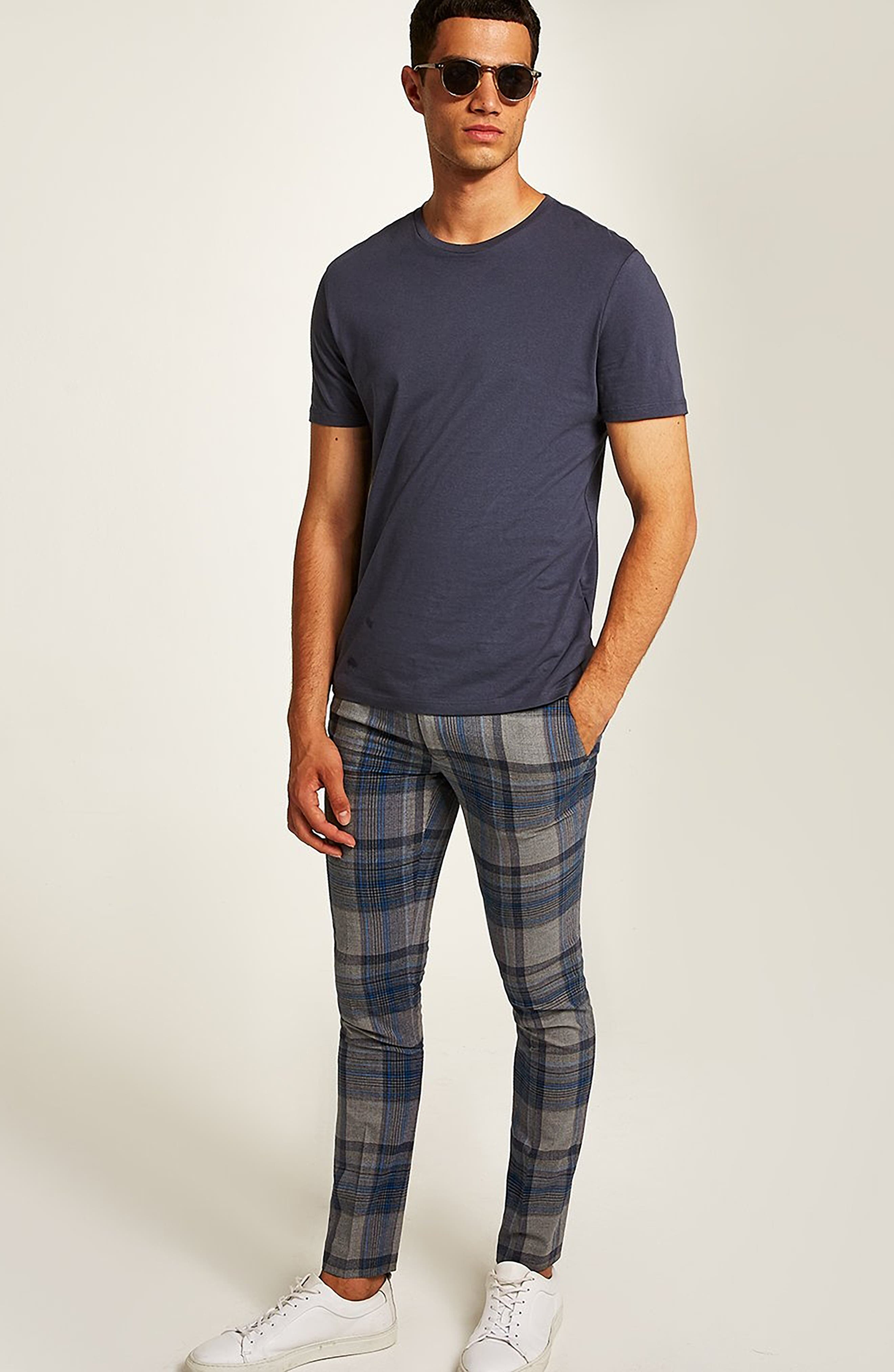 Ultra Skinny Fit Check Pants,                             Alternate thumbnail 5, color,                             020
