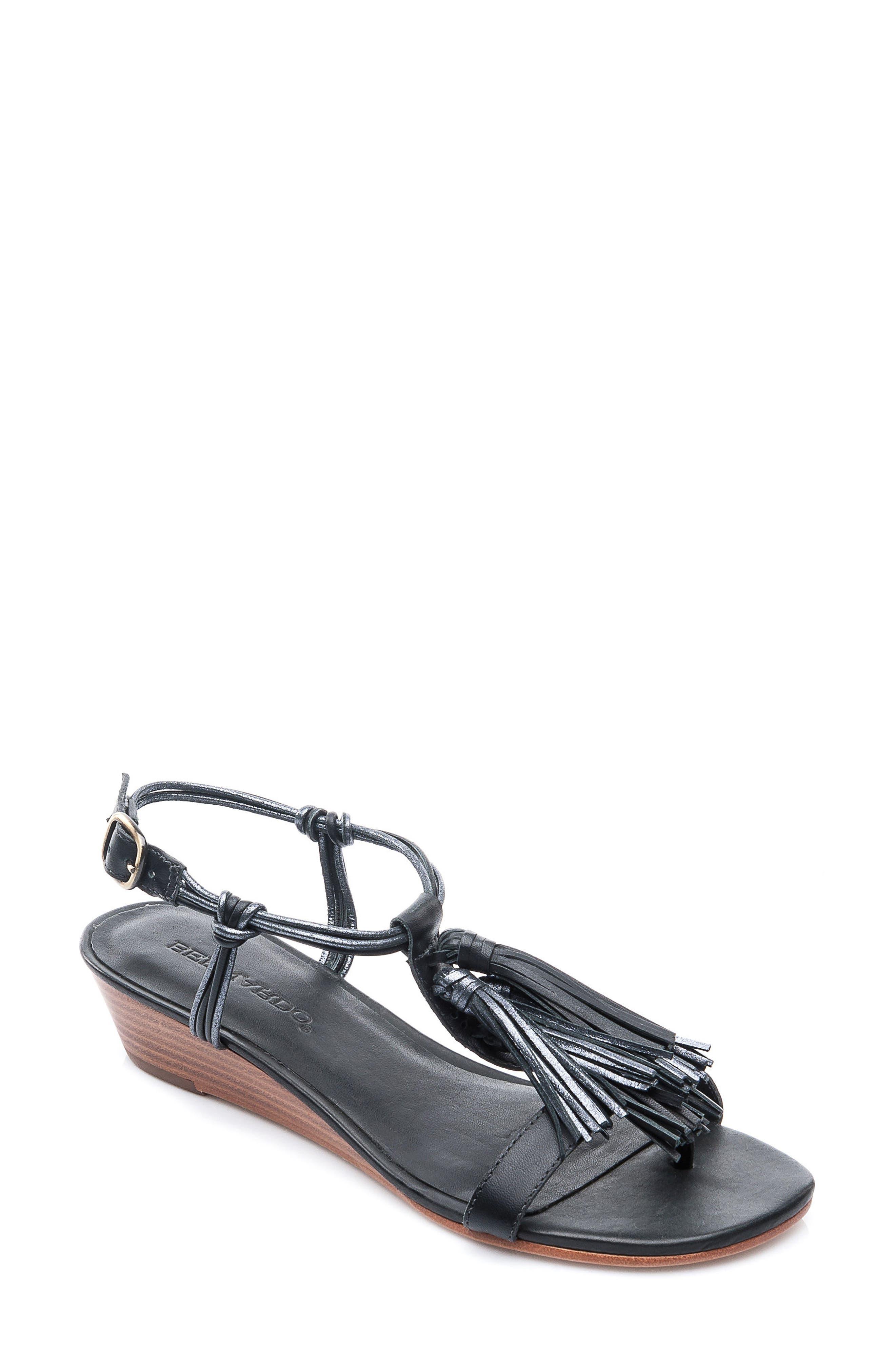 Footwear Court Fringe Leather Sandal,                             Main thumbnail 1, color,