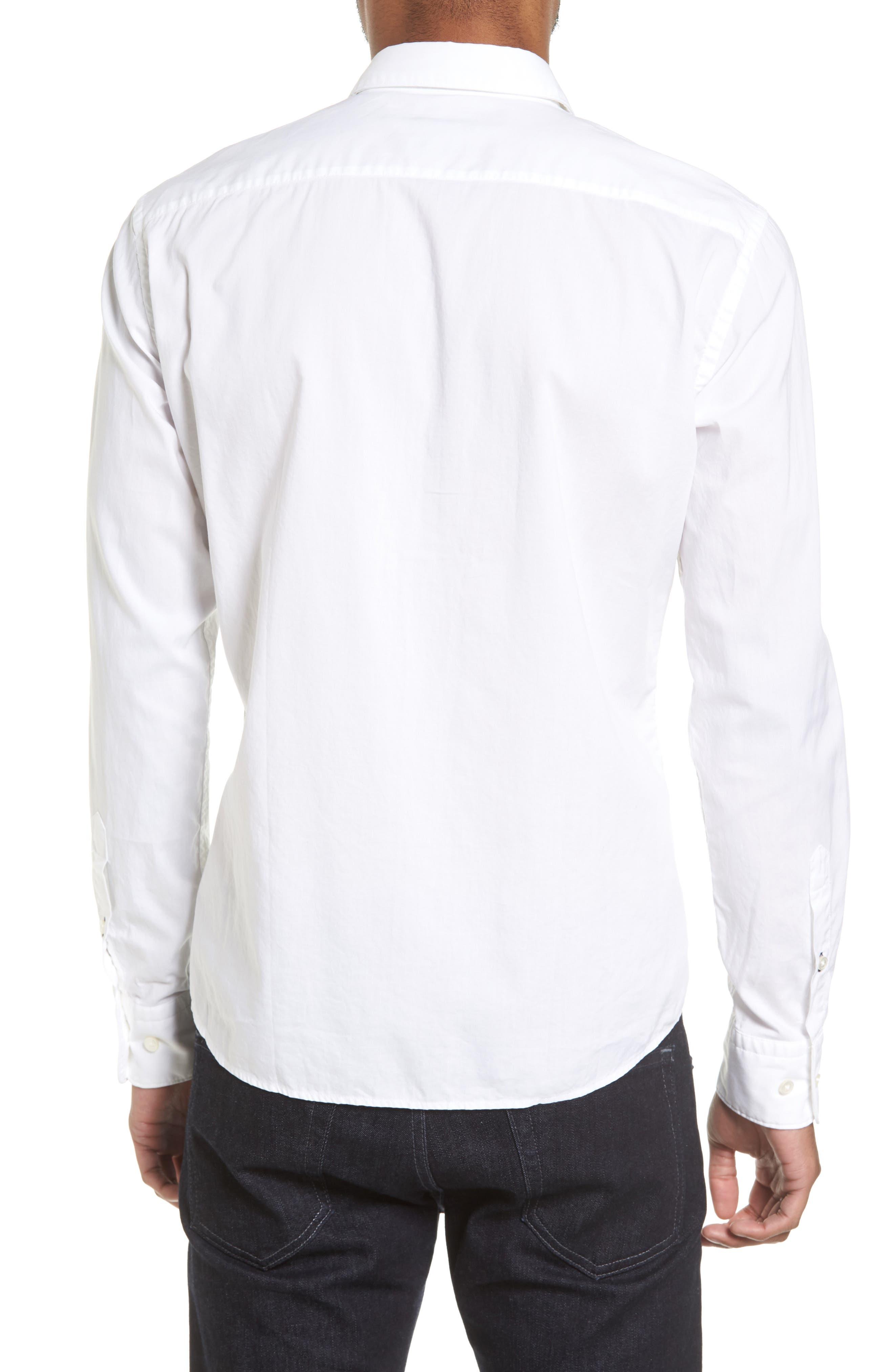 Reid Slim Fit Contrast Placket Sport Shirt,                             Alternate thumbnail 2, color,                             101
