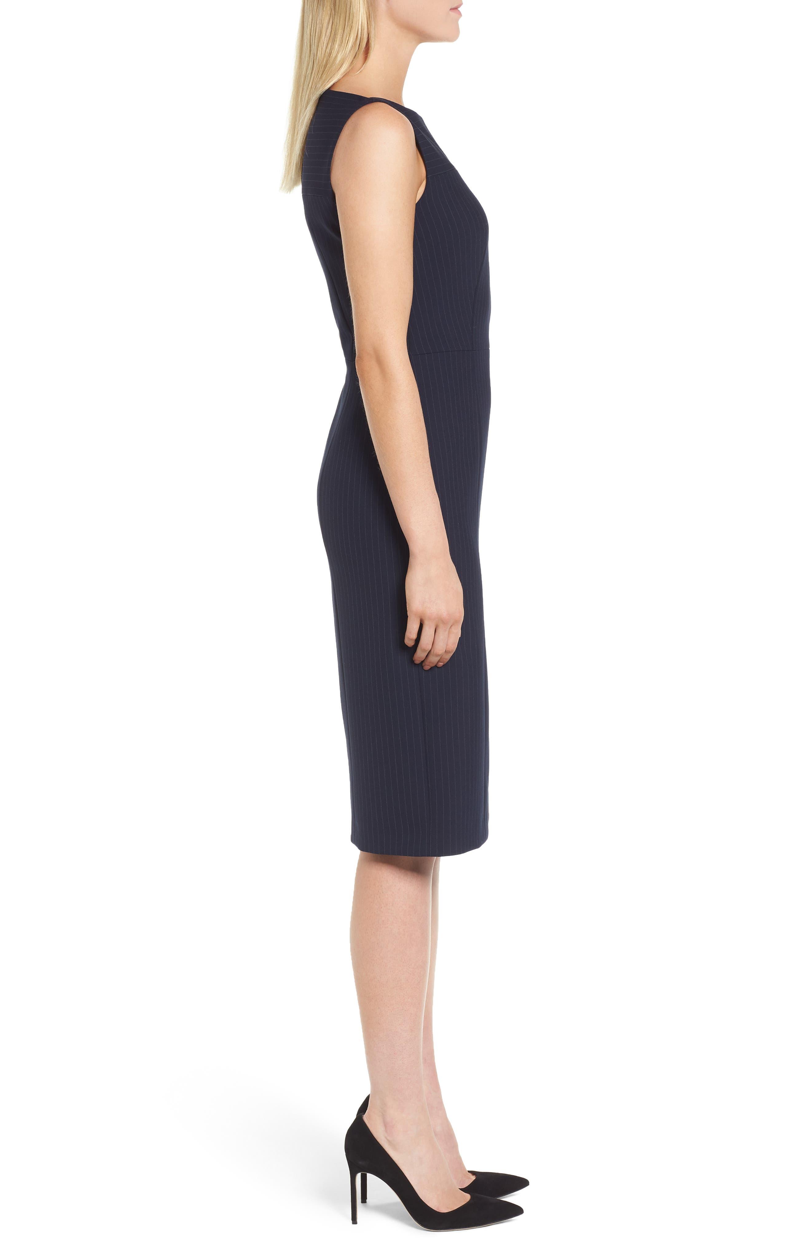 Denaka Pinstripe Sheath Dress,                             Alternate thumbnail 3, color,                             462