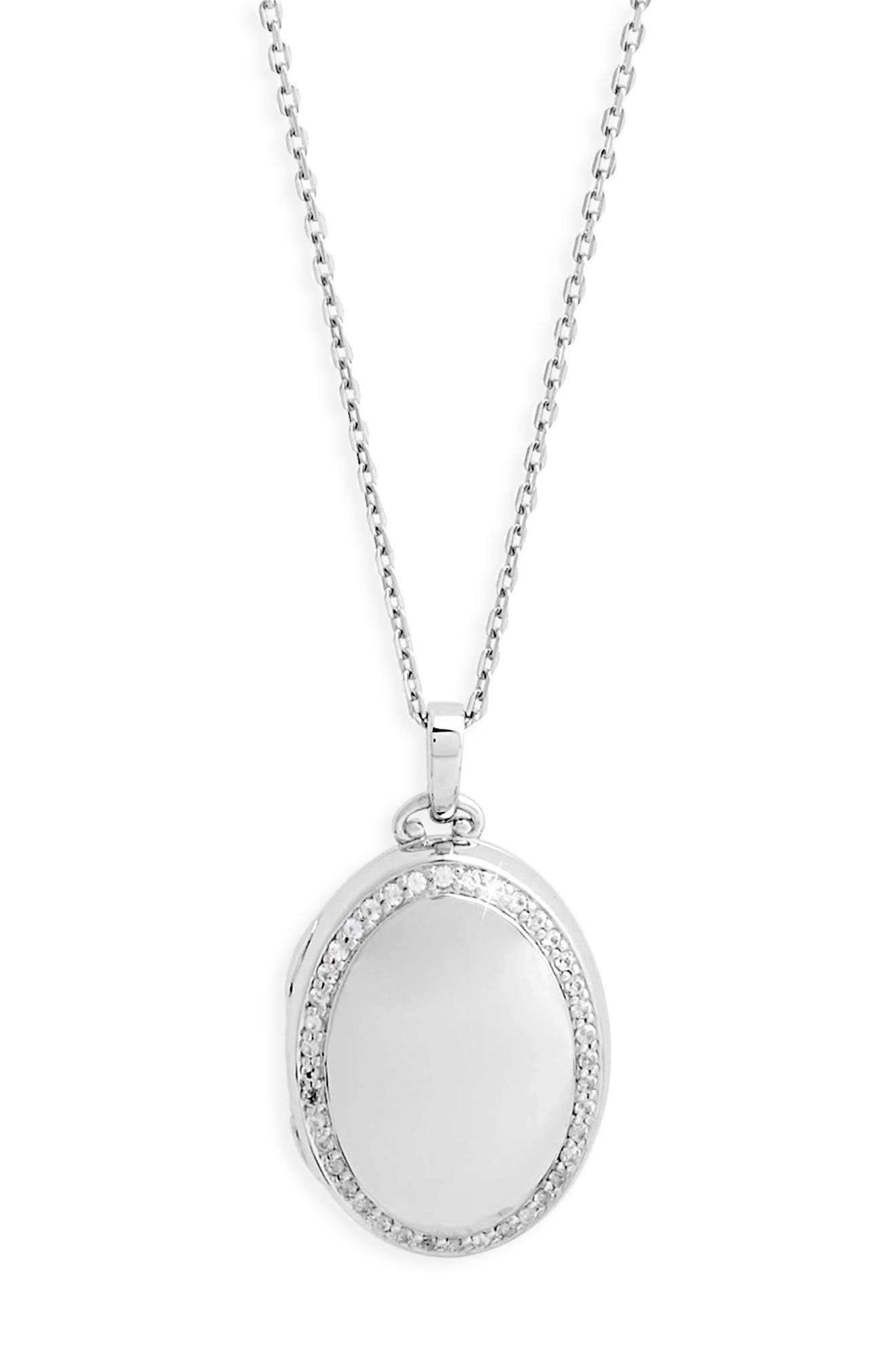 Four Image White Sapphire Locket Necklace,                             Alternate thumbnail 3, color,                             STERLING SILVER