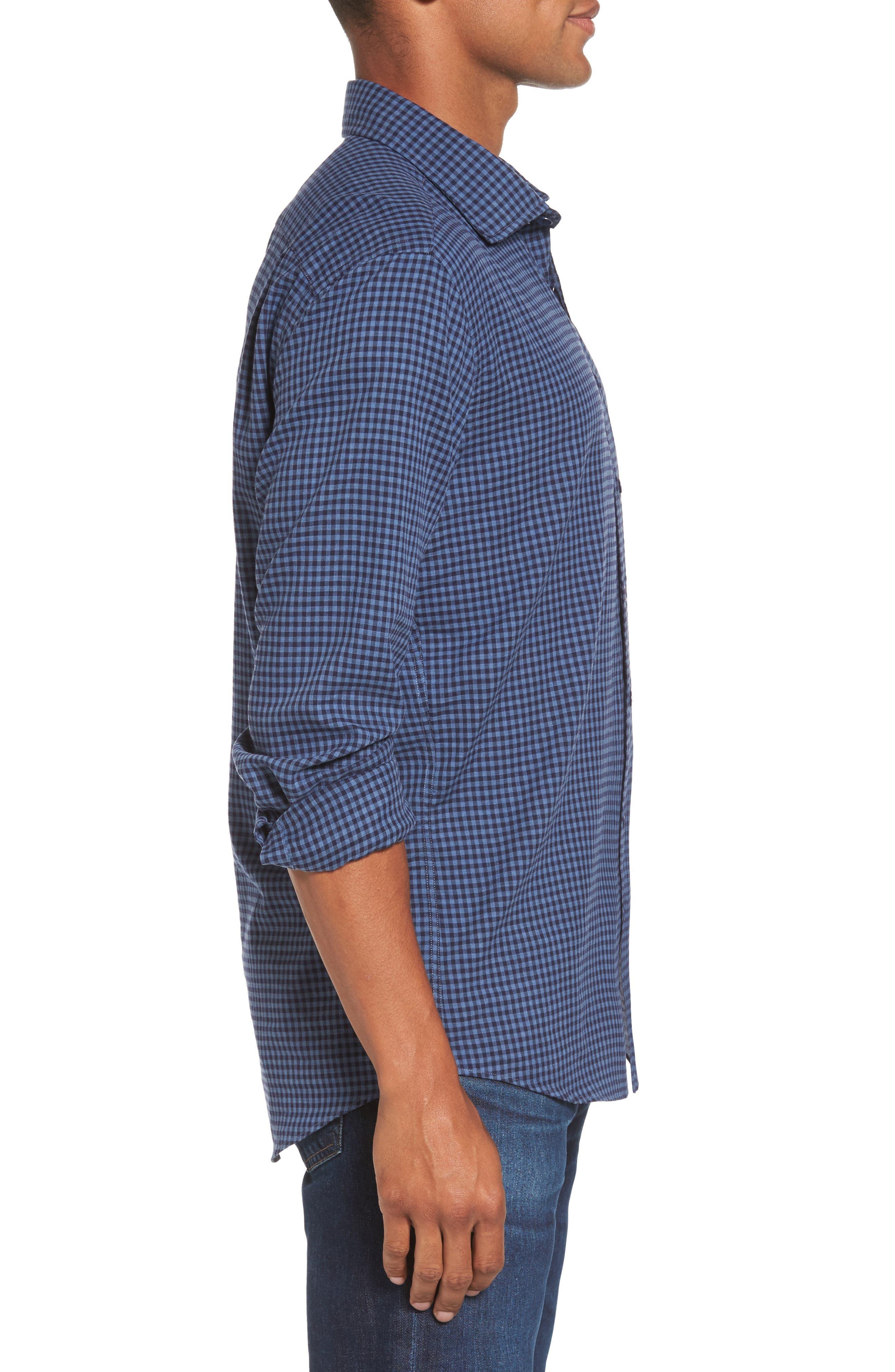 Kennington Regular Fit Gingham Sport Shirt,                             Alternate thumbnail 3, color,                             401