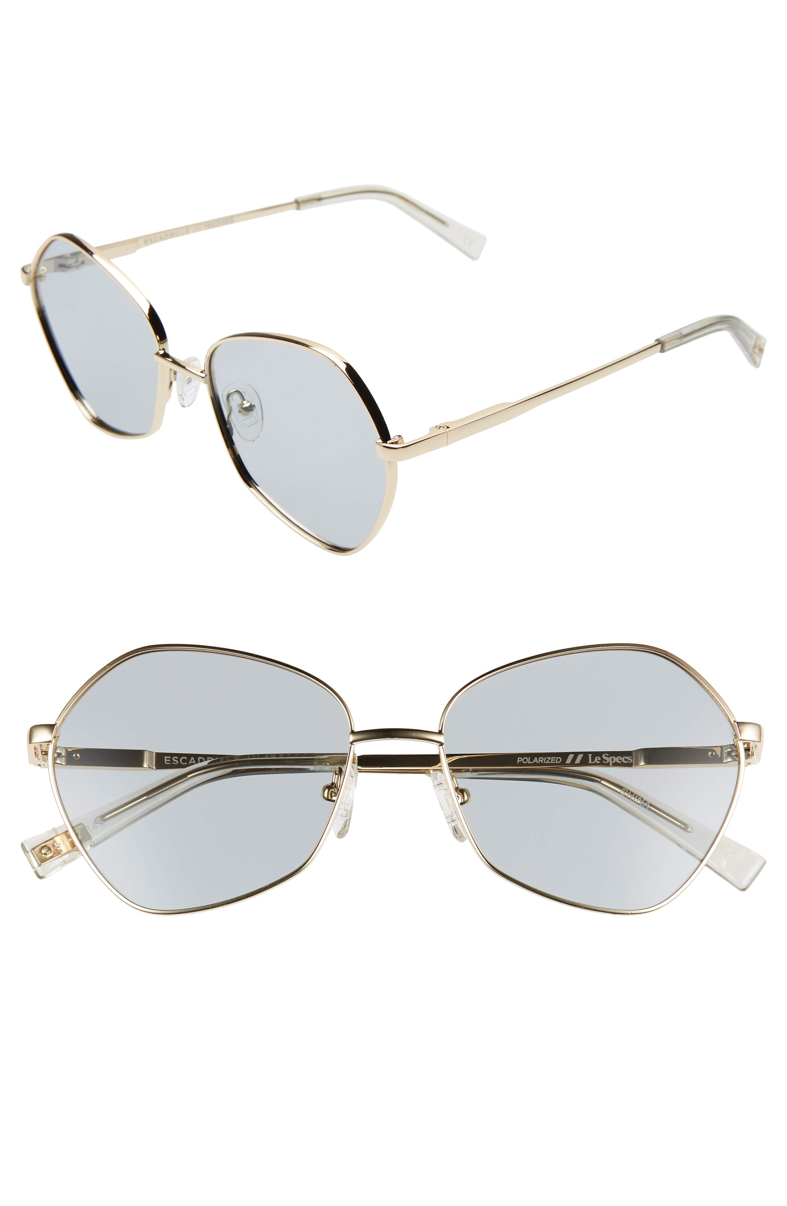 Le Specs Escadrille 57Mm Polarized Angular Sunglasses - Gold/ Grey Tint