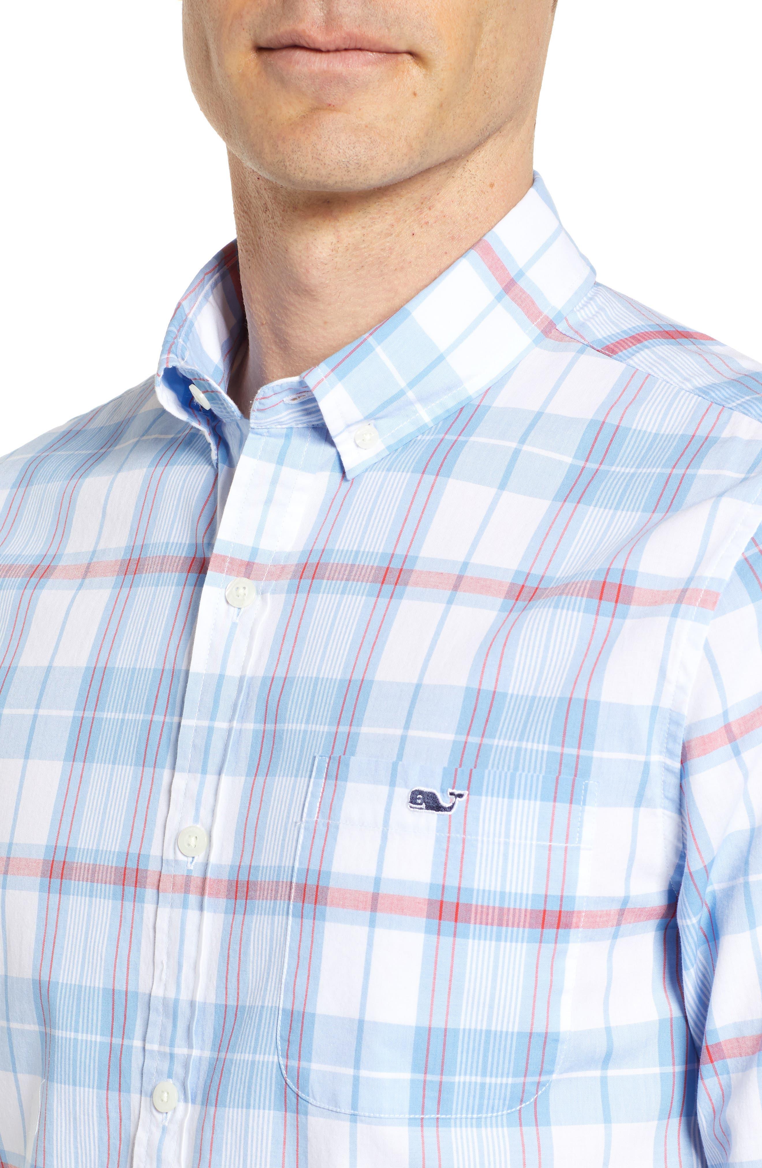 Cape Poge Tucker Slim Fit Plaid Sport Shirt,                             Alternate thumbnail 4, color,                             447