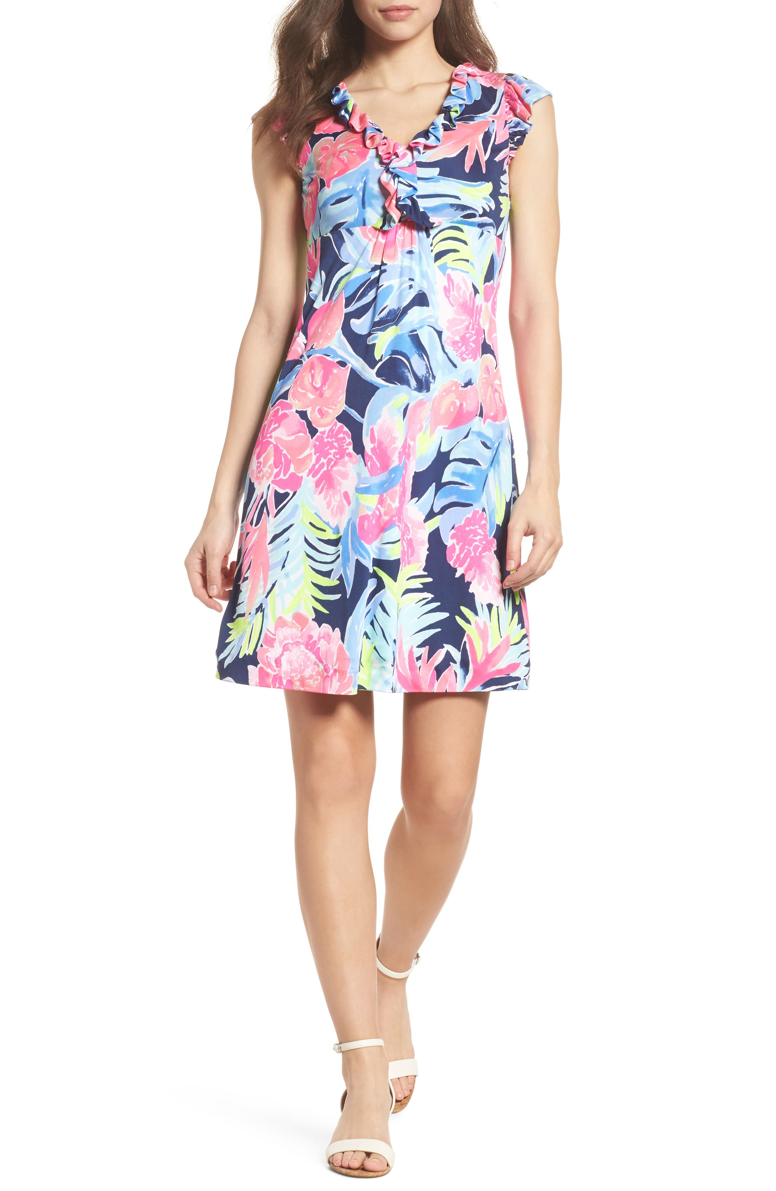 Clare Floral Silk A-Line Dress,                             Alternate thumbnail 5, color,                             400