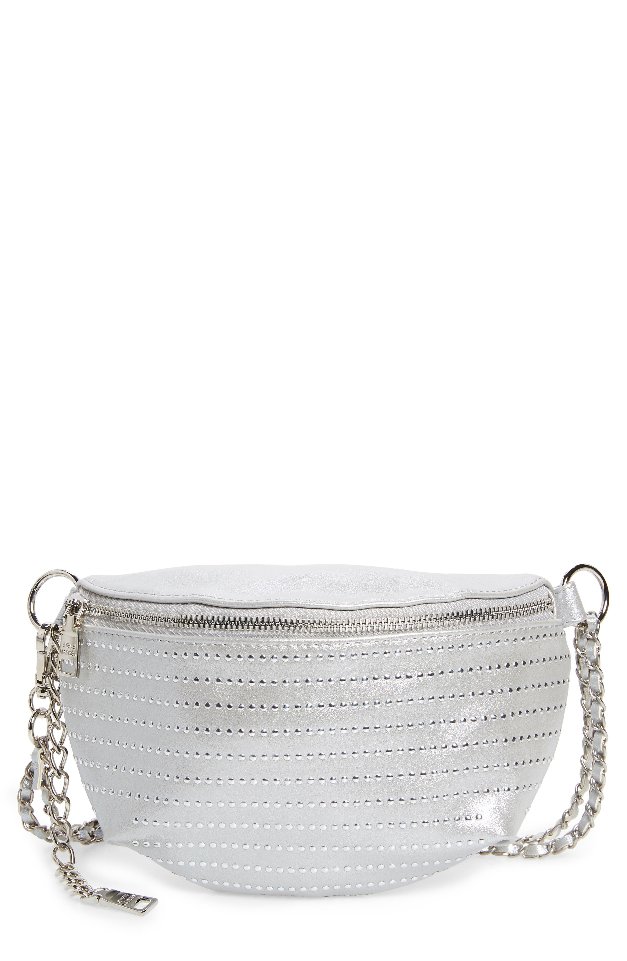 Becca Metallic Studded Belt Bag,                             Main thumbnail 1, color,                             SILVER