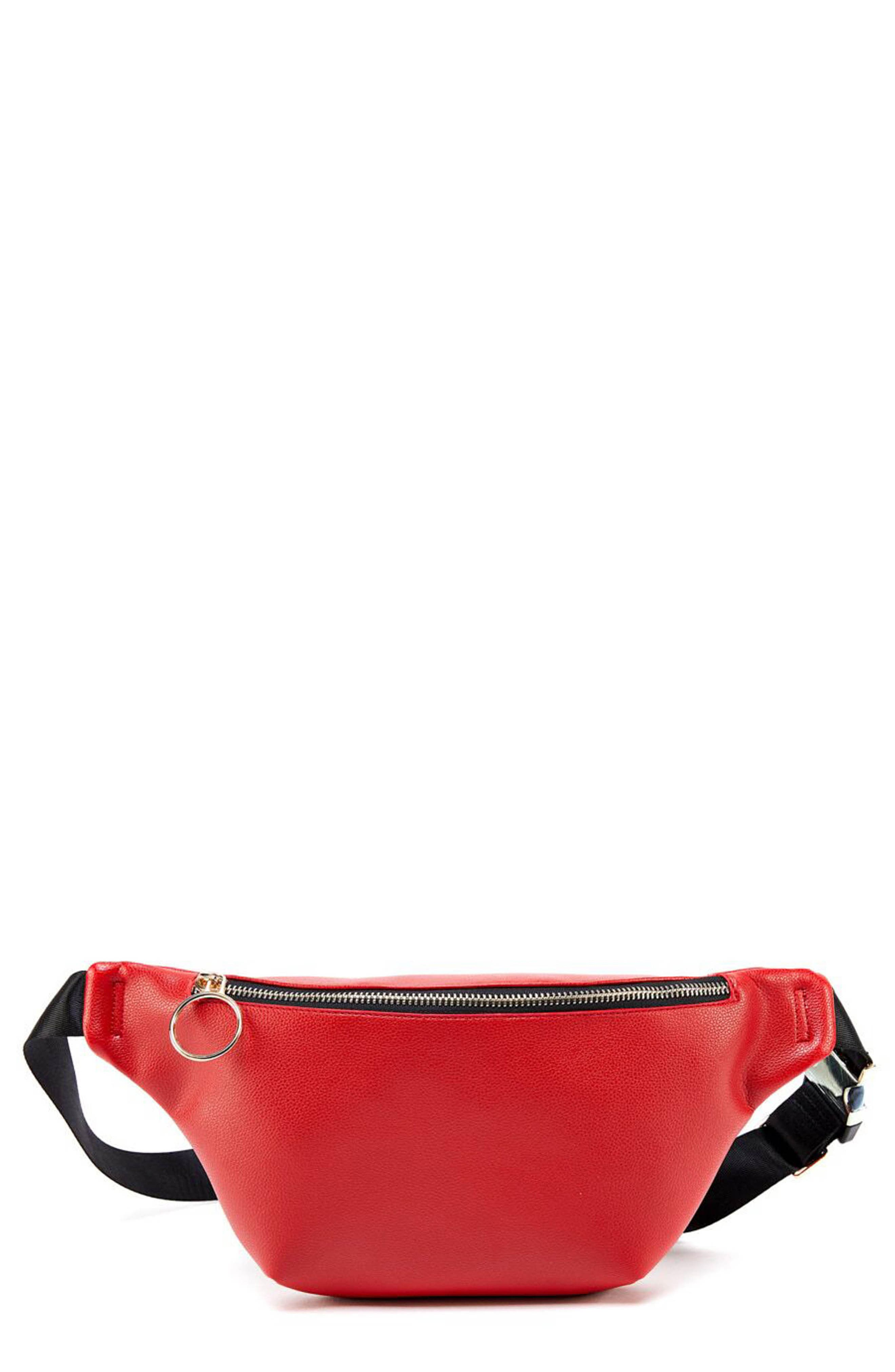 Faux Leather Belt Bag, Main, color, RED