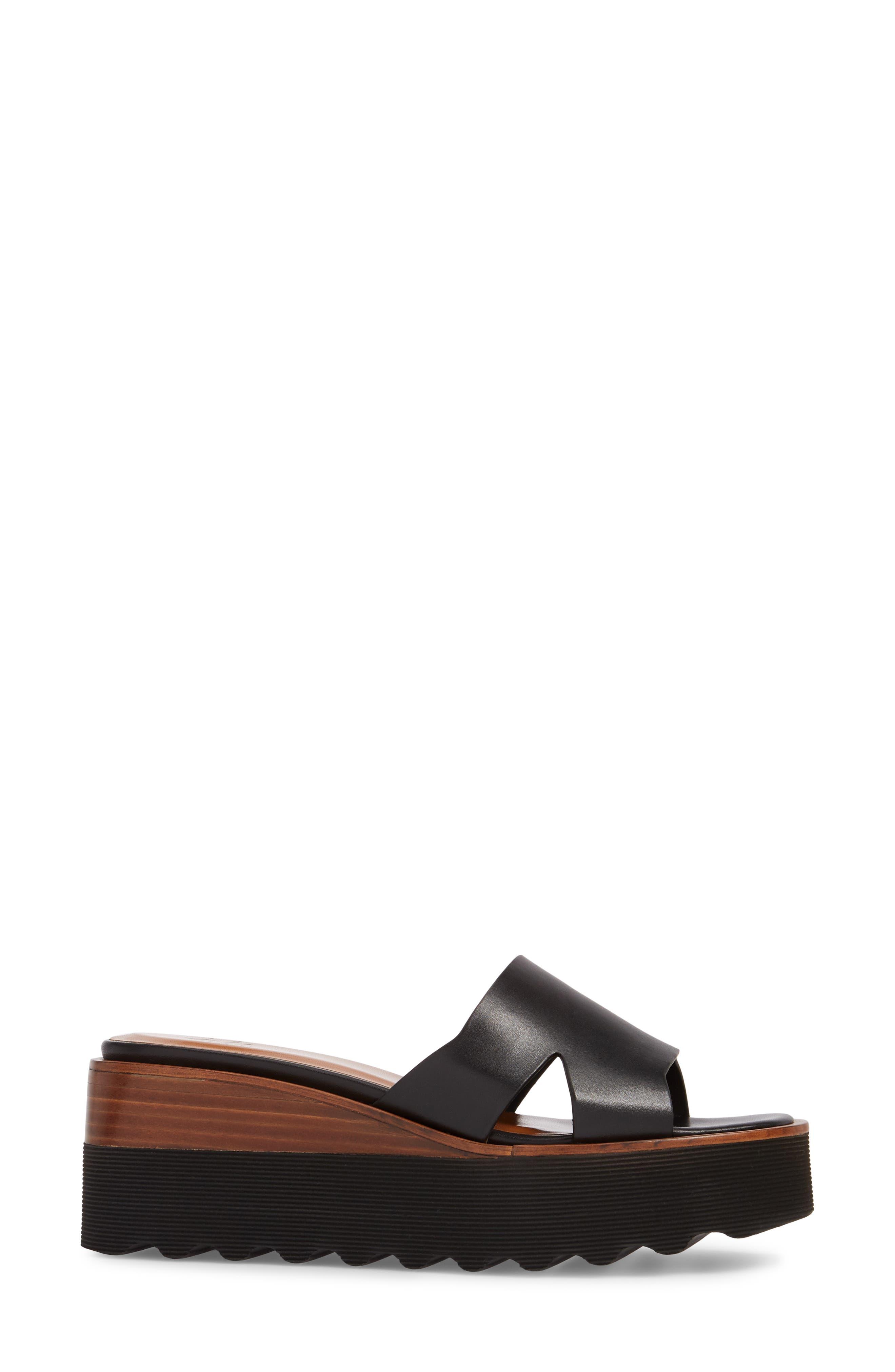 Tayla Platform Wedge Sandal,                             Alternate thumbnail 3, color,                             001