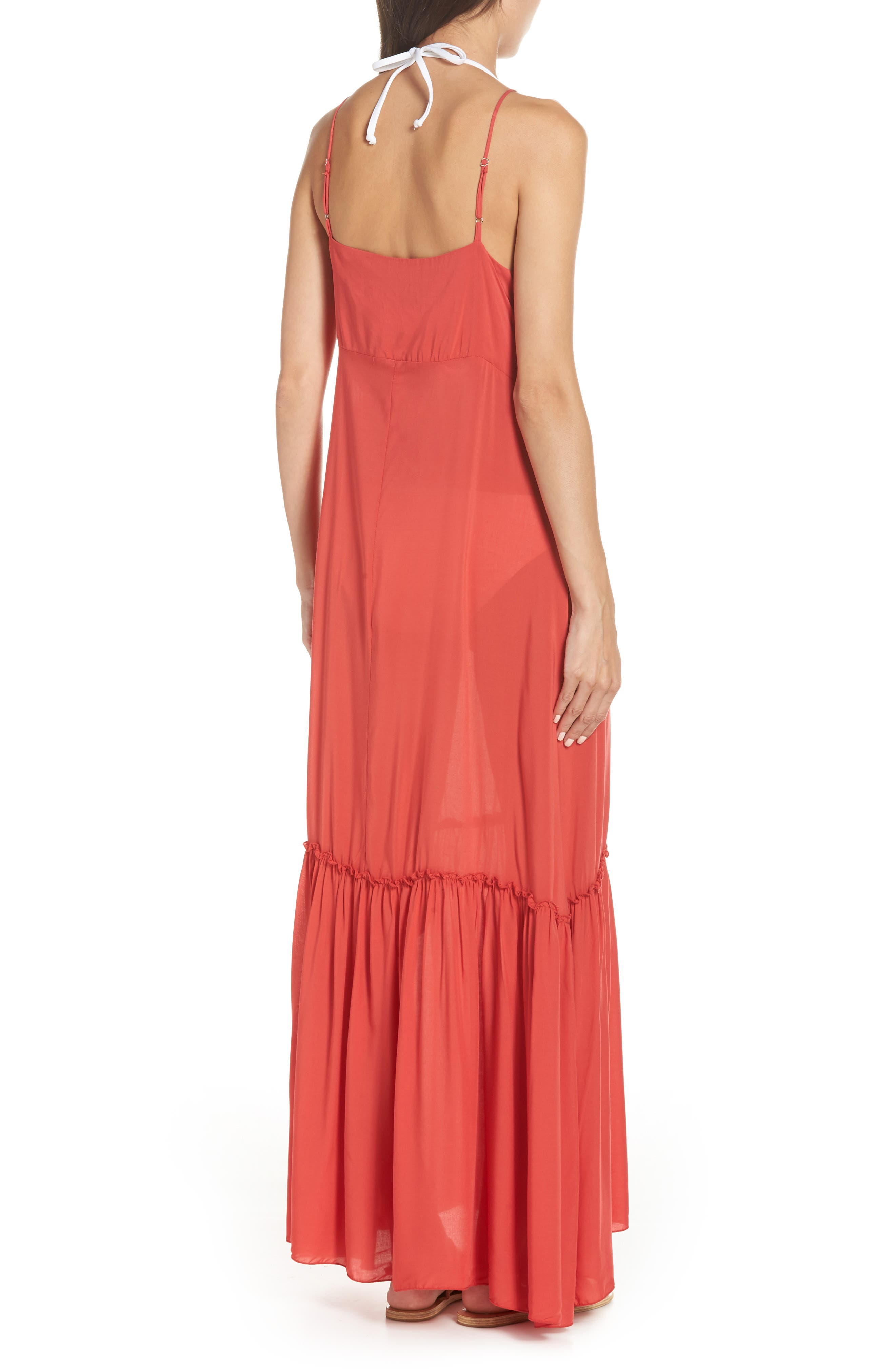 Maxi Cover-Up Dress,                             Alternate thumbnail 2, color,                             CORAL