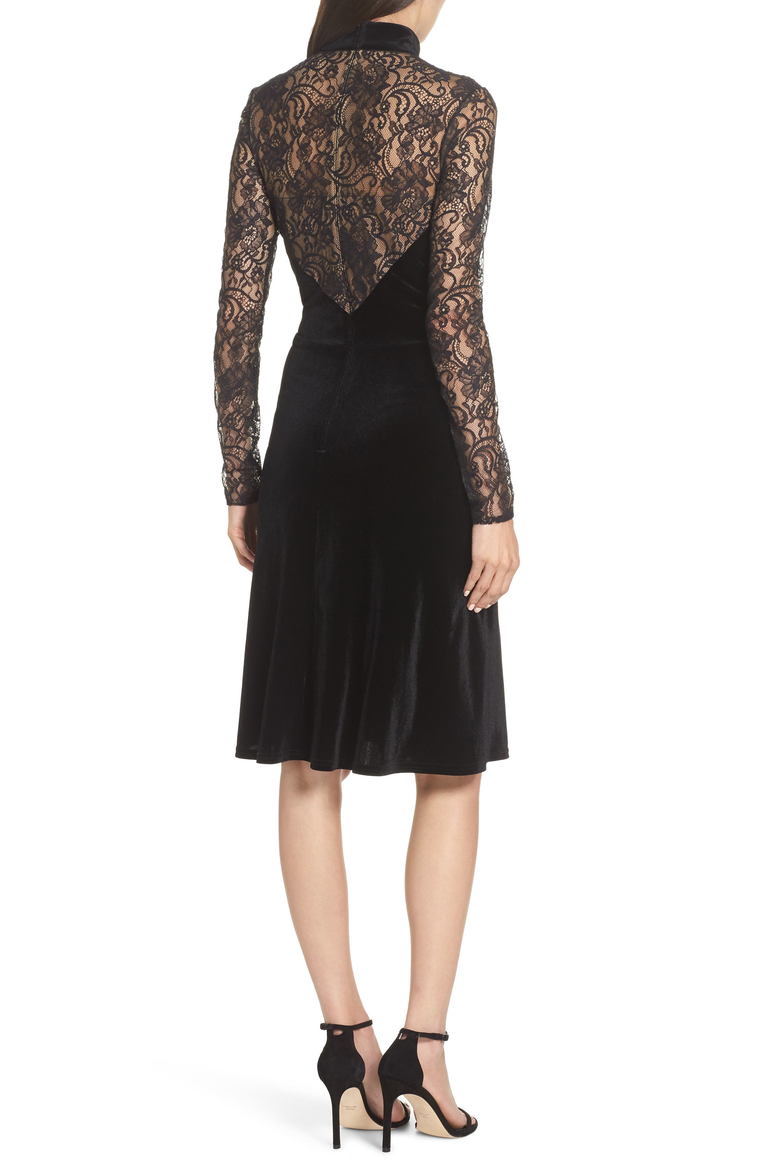 T by Tadashi Lace & Velvet Sheath Dress,                             Alternate thumbnail 2, color,                             BLACK/ NUDE