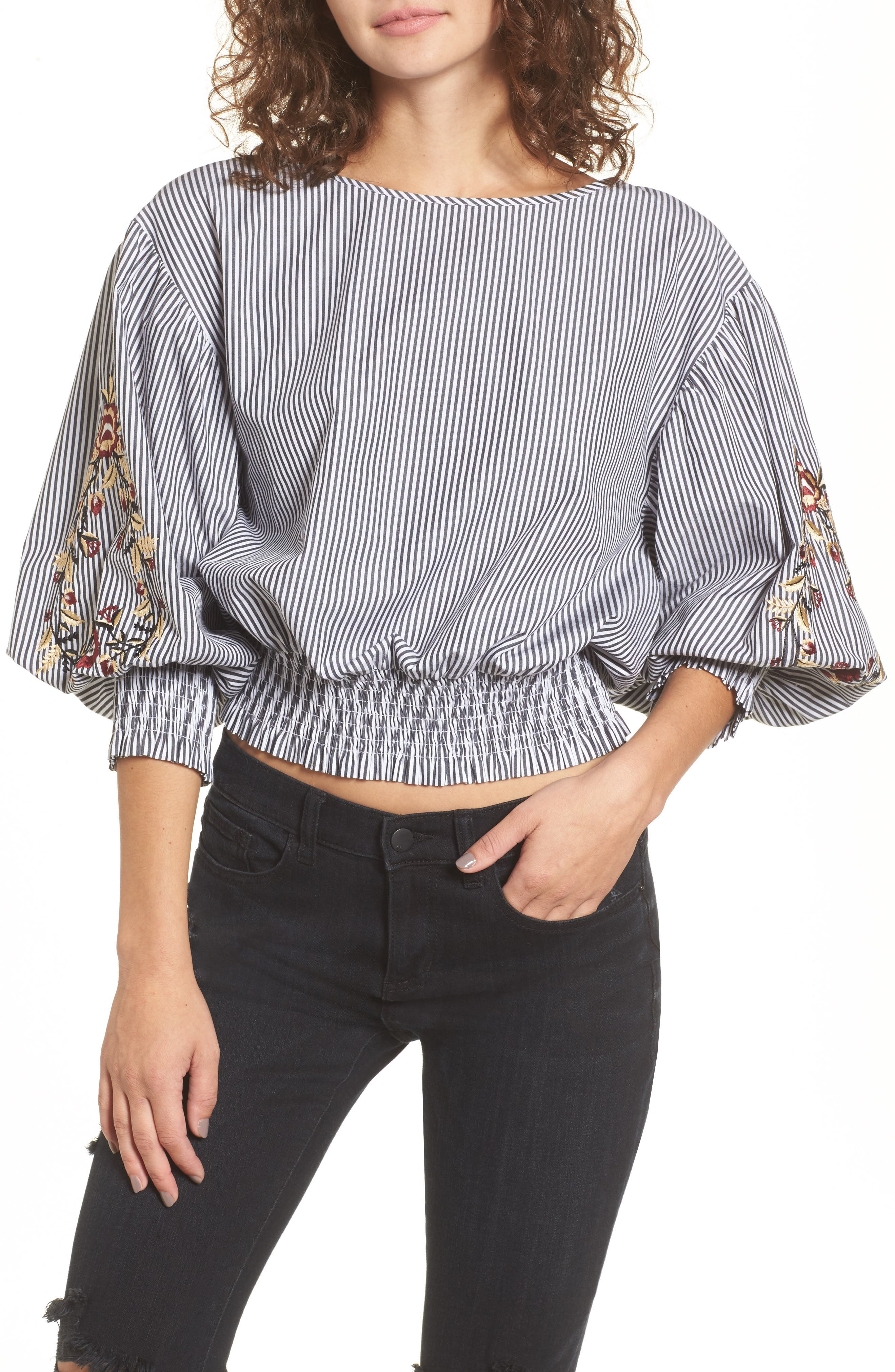 Embroidered Puff Sleeve Crop Top,                             Main thumbnail 1, color,                             001