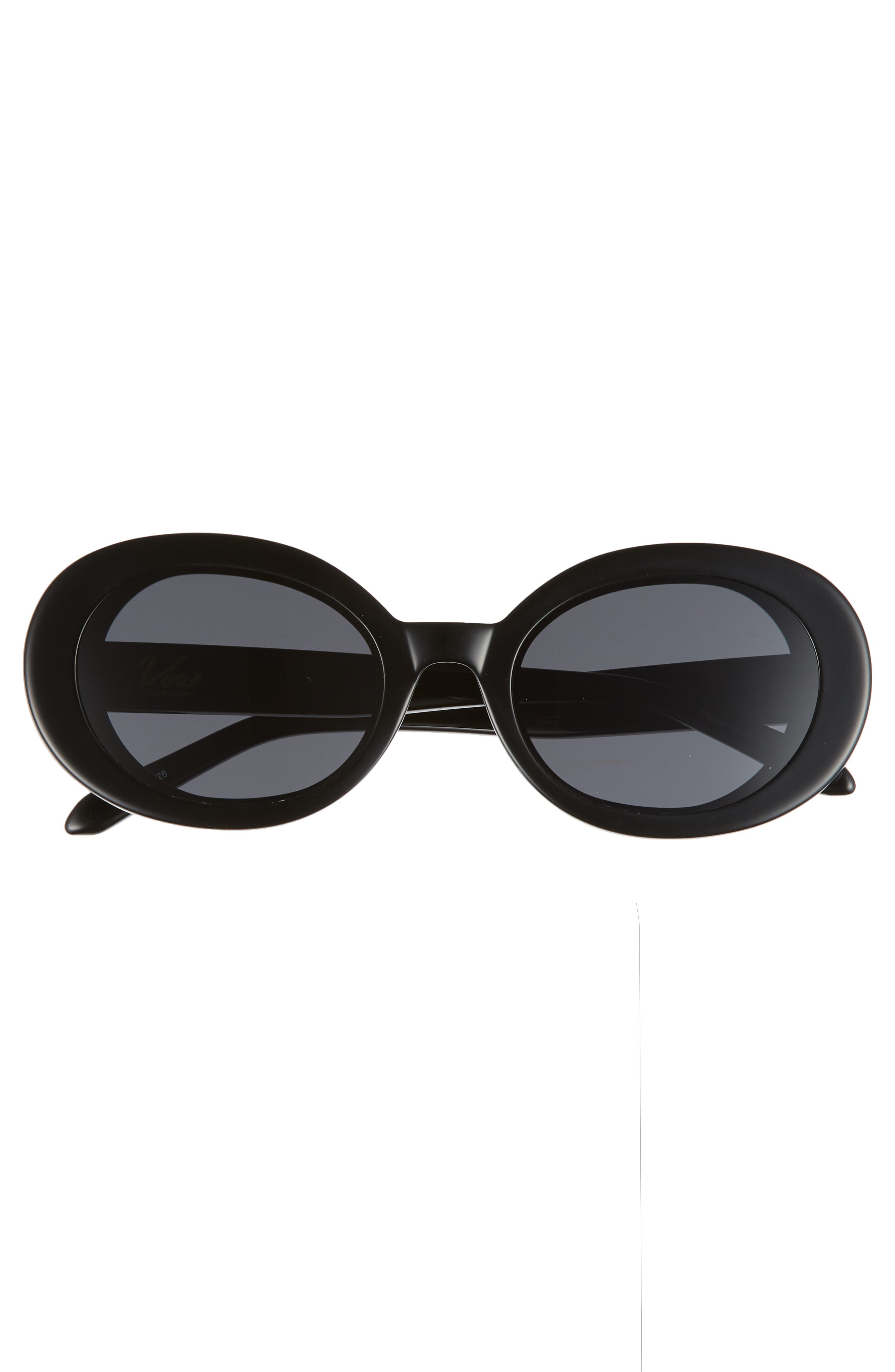 Selena 52mm Oval Sunglasses,                             Alternate thumbnail 3, color,                             BLACK/ SMOKE