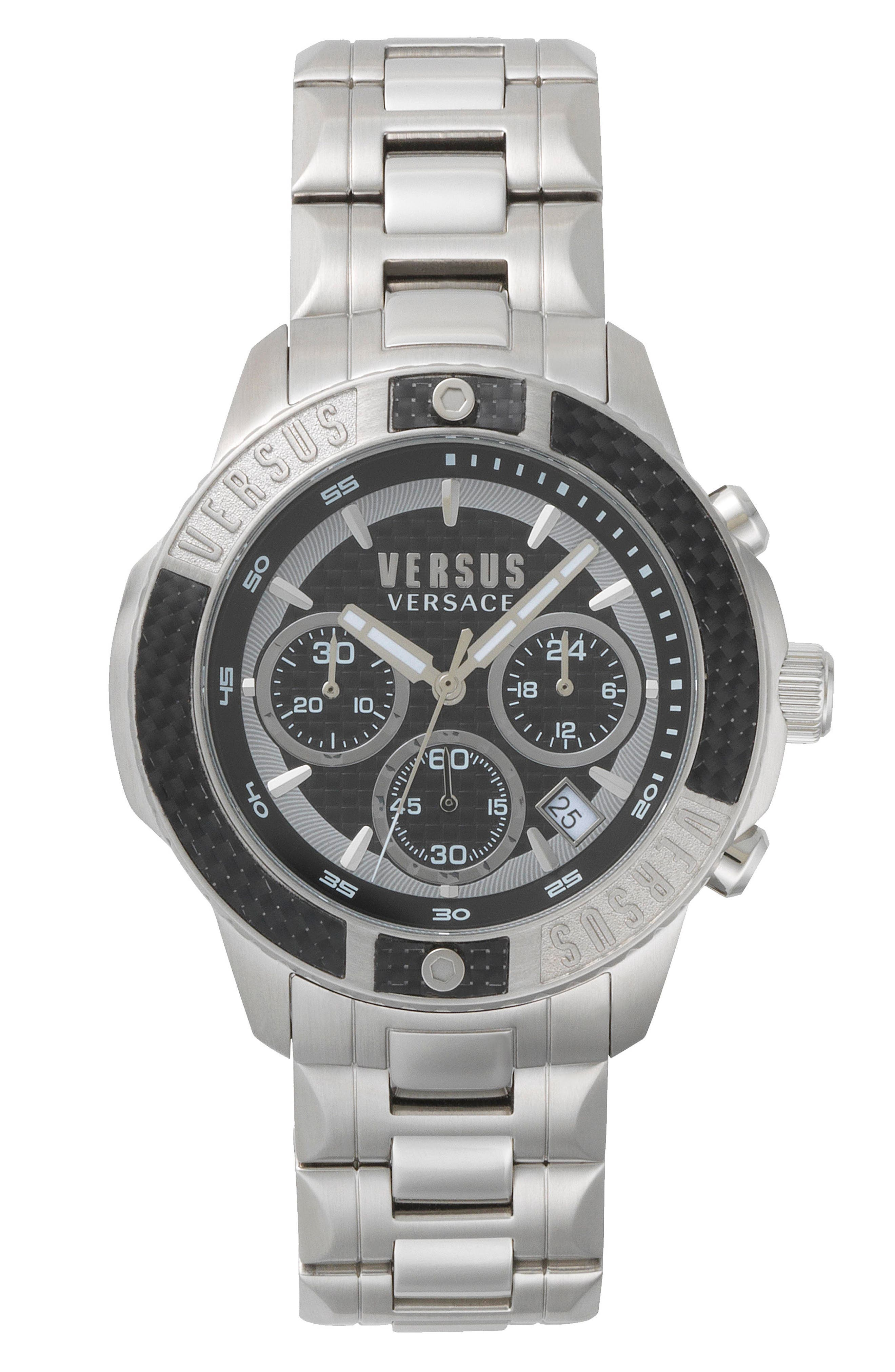 Admiralty Chronograph Bracelet Watch, 44mm,                             Main thumbnail 1, color,                             SILVER/ BLACK/ SILVER