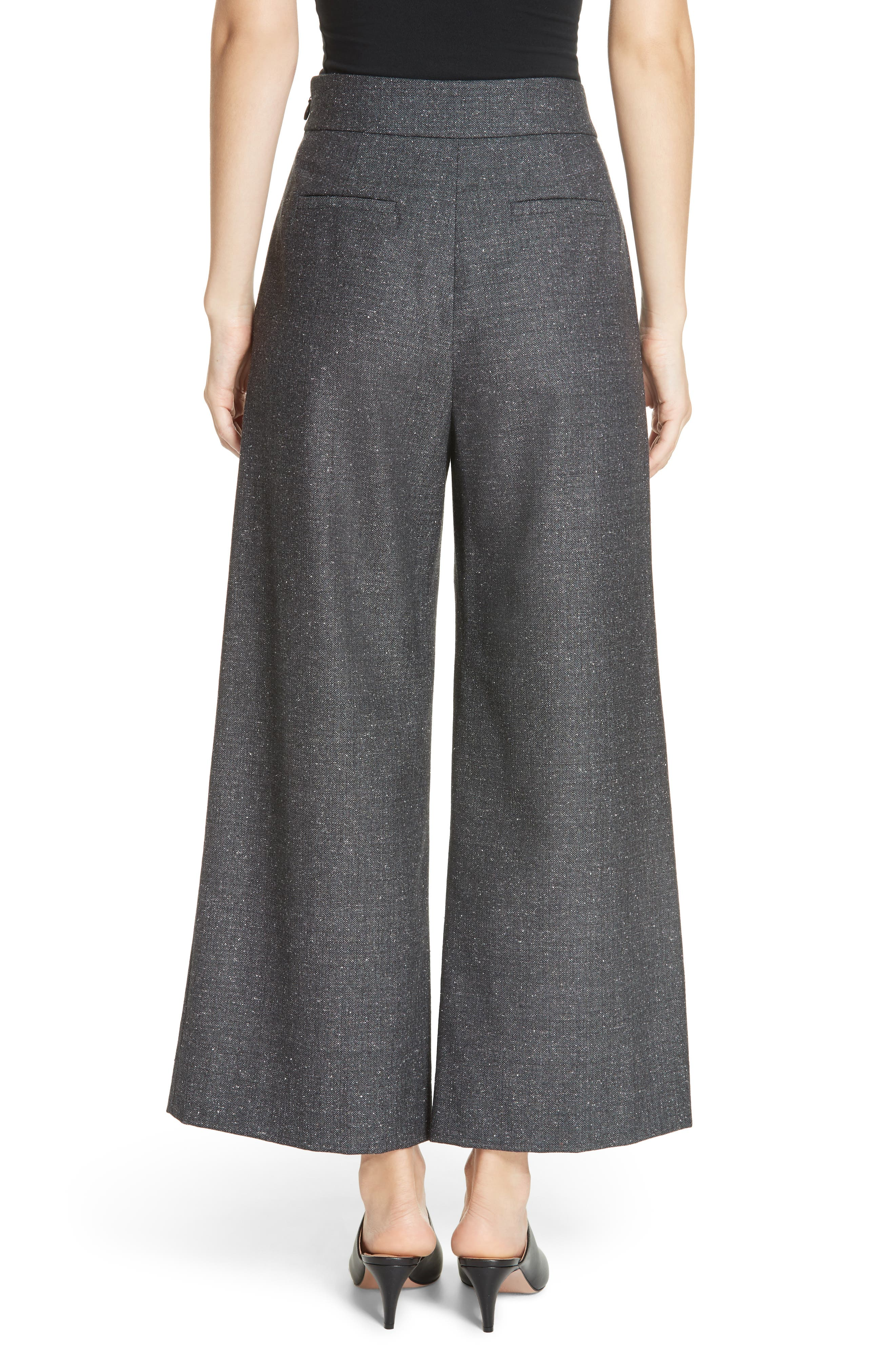 Wide Leg Crop Wool & Silk Blend Trousers,                             Alternate thumbnail 2, color,                             GREY
