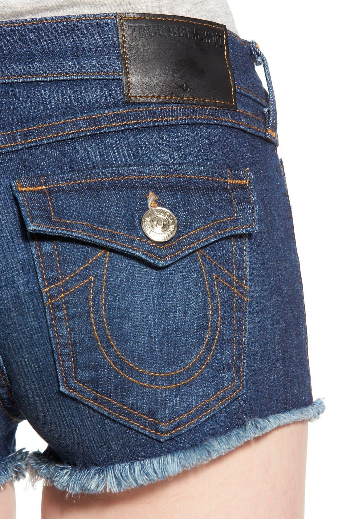 Joey Flap Pocket Cutoff Denim Shorts,                             Alternate thumbnail 5, color,