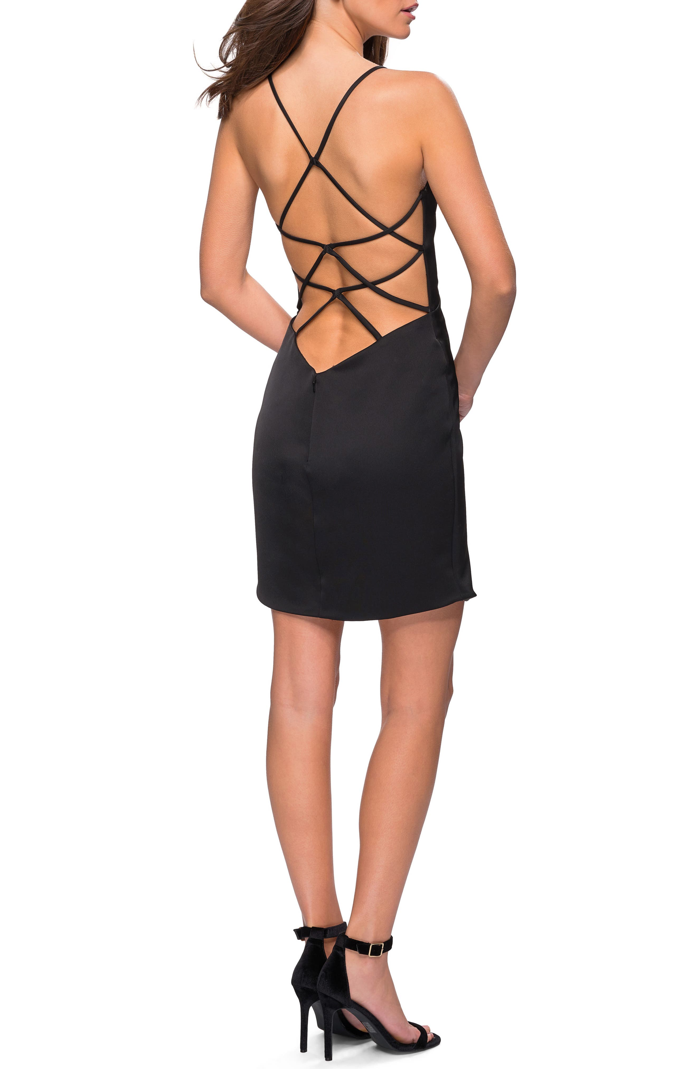 Strappy Back Satin Party Dress,                             Alternate thumbnail 2, color,                             BLACK