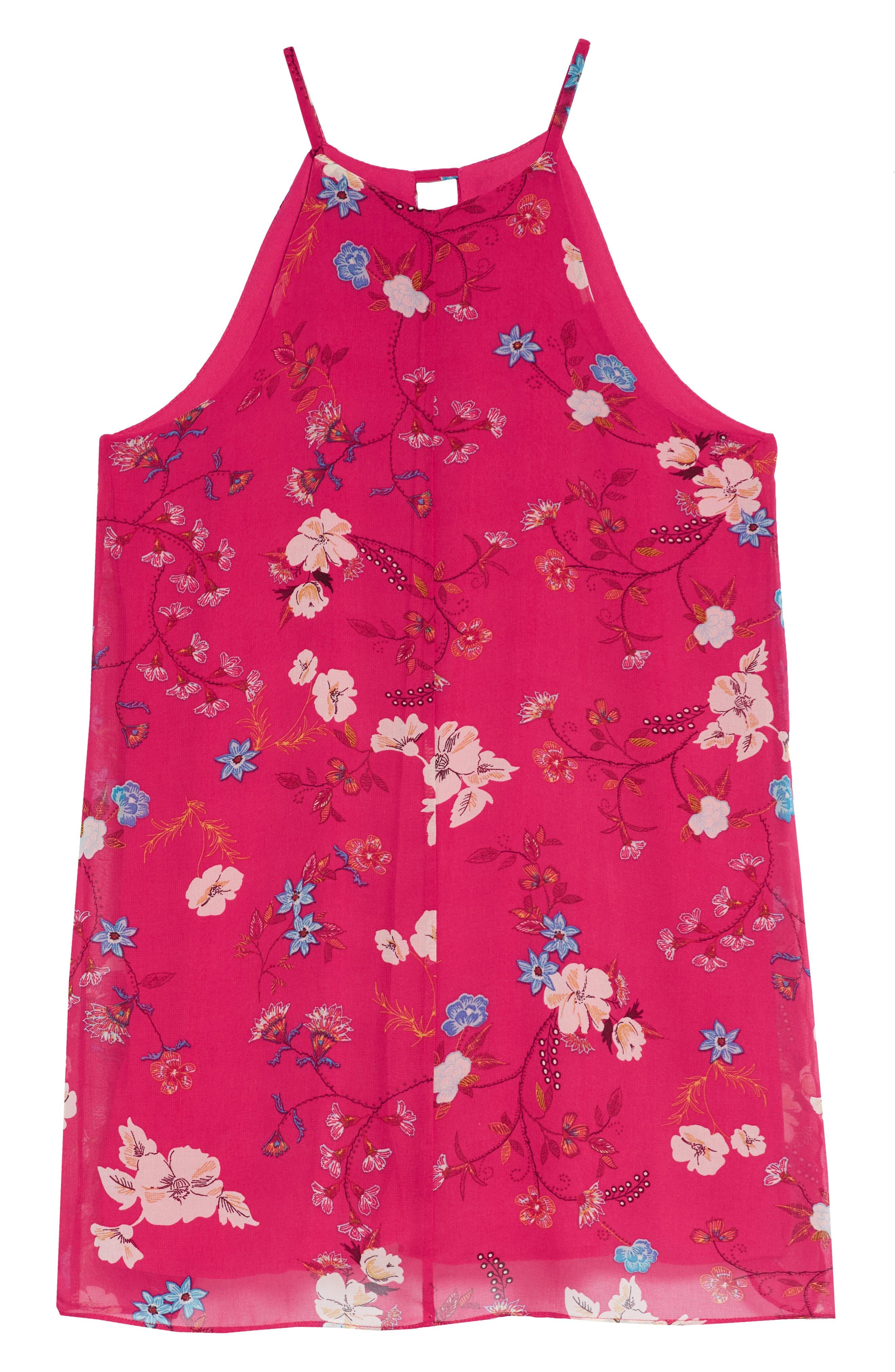 Print Halter Chiffon Dress,                             Alternate thumbnail 4, color,