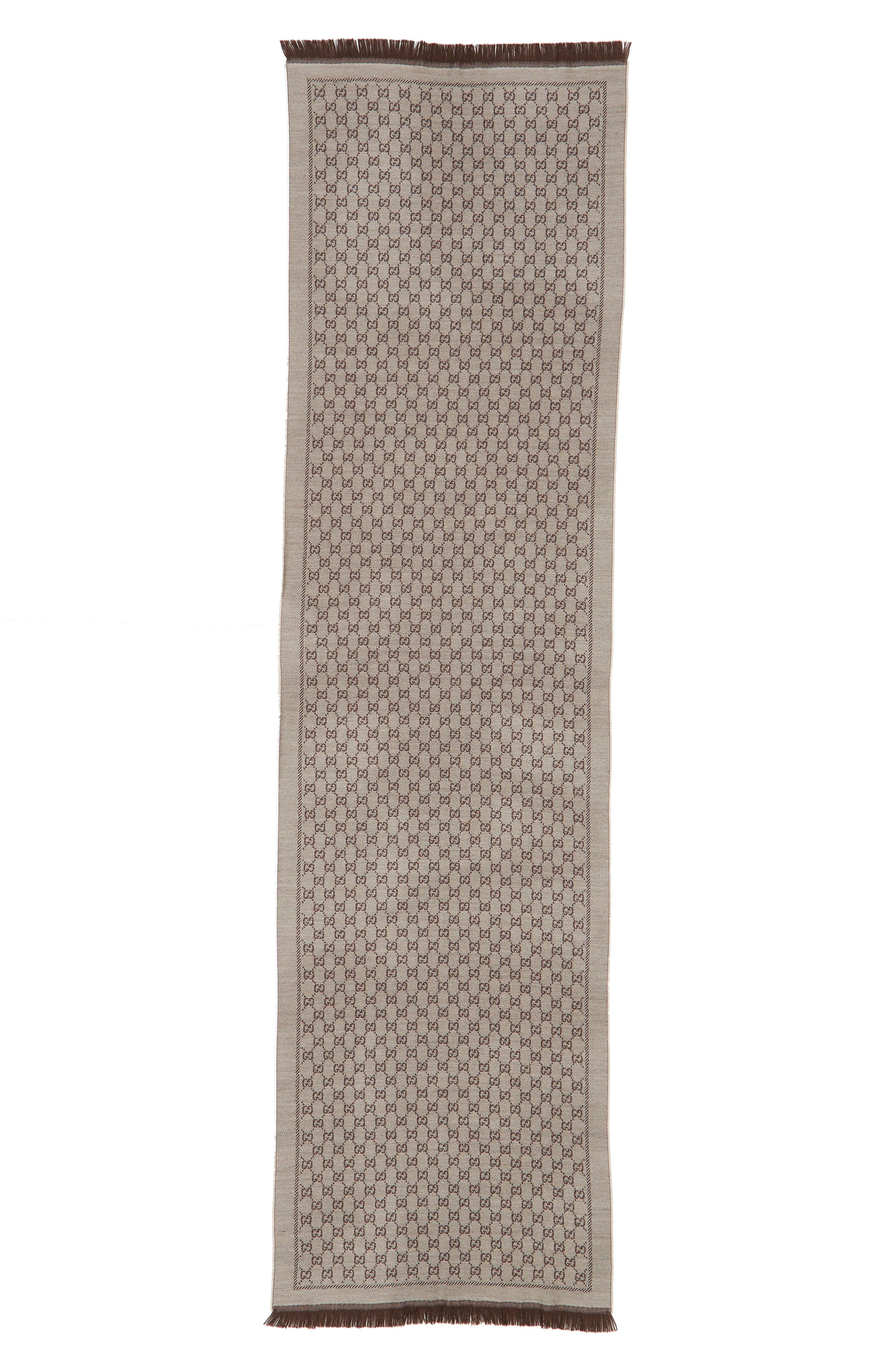 GG Jacquard Wool Scarf,                         Main,                         color, BEIGE/ DARK BROWN