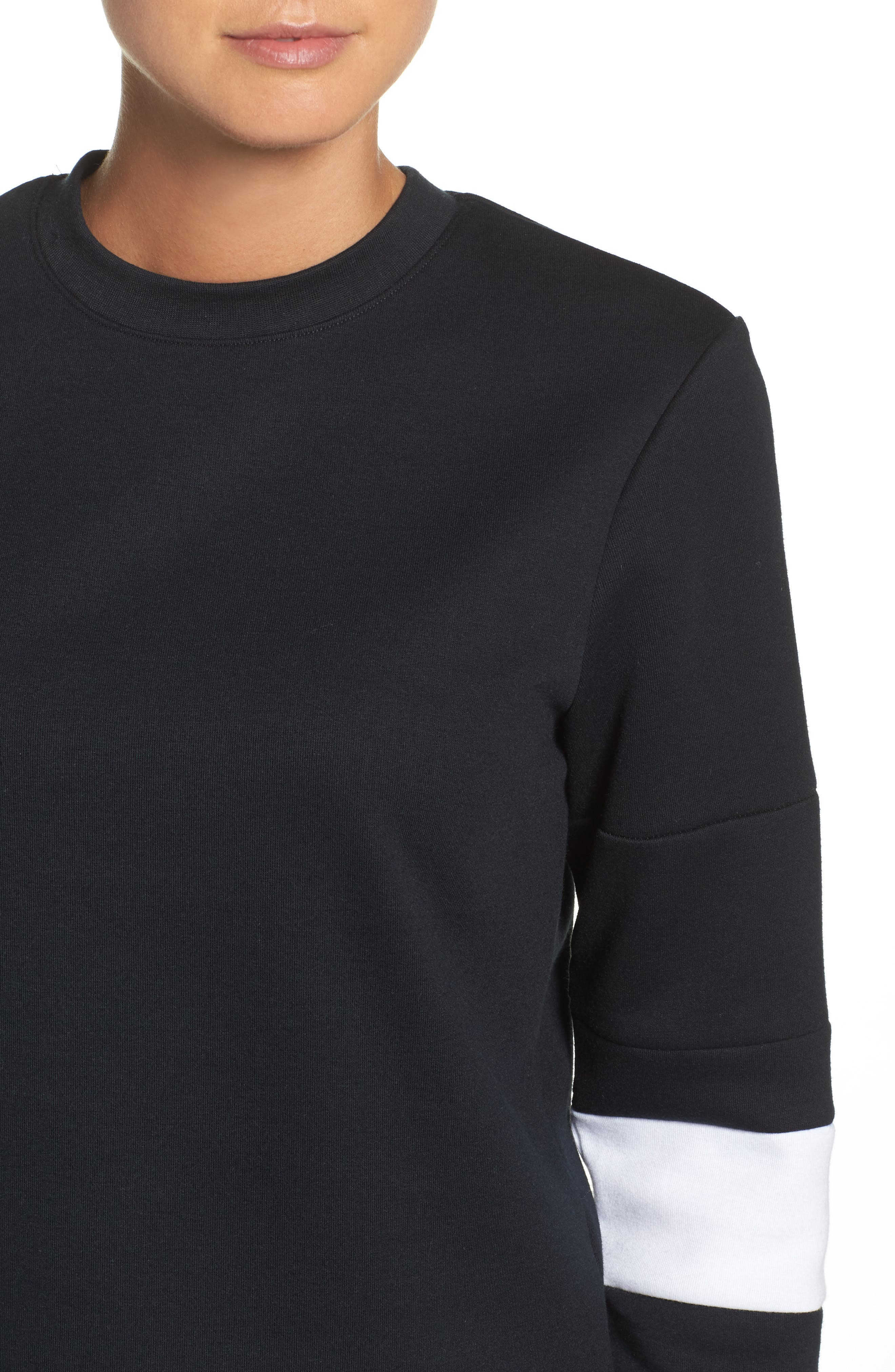 Colorblock Crewneck Top,                             Alternate thumbnail 4, color,                             BLACK