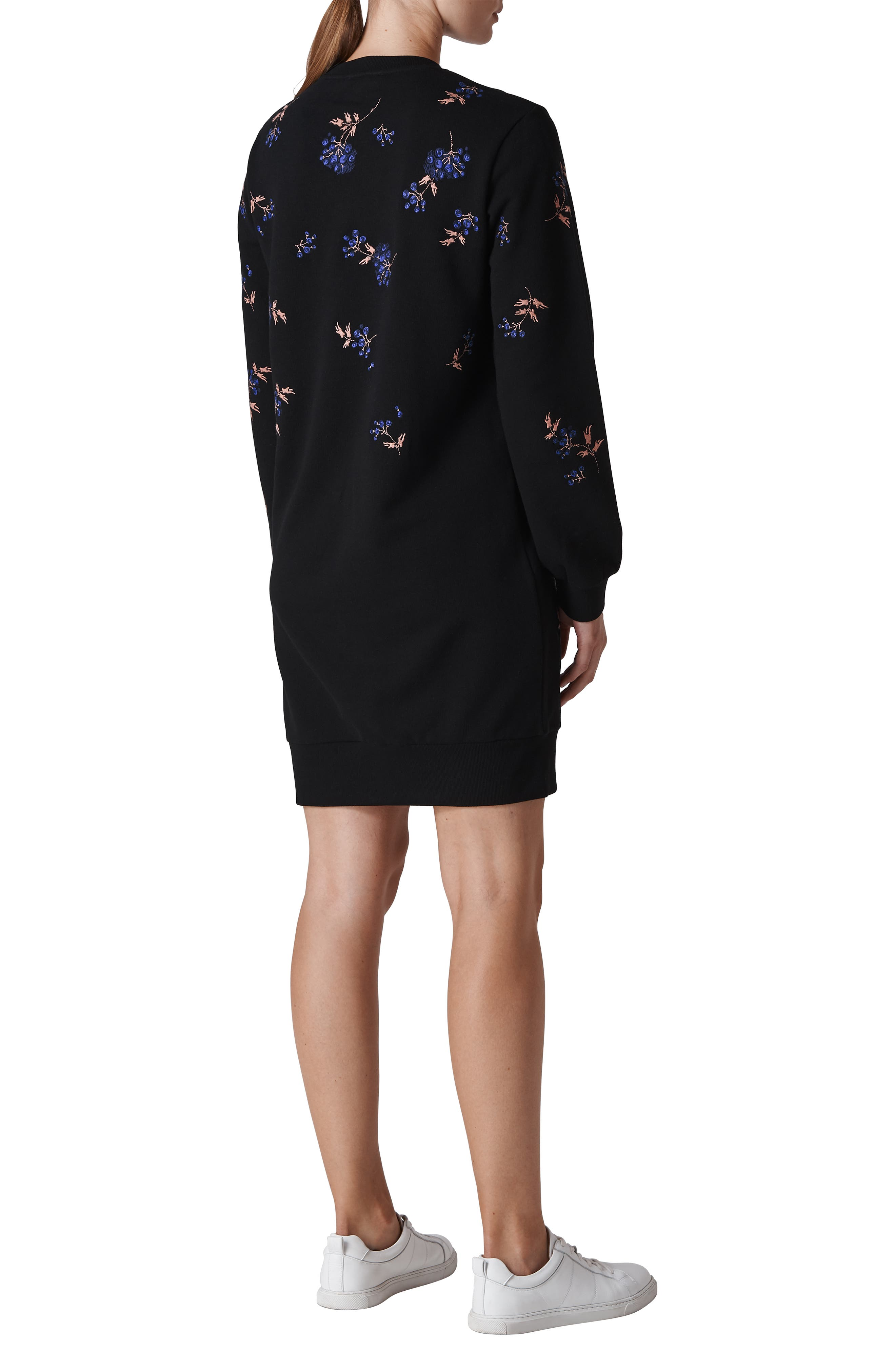 Elderberry Embroidered Sweatshirt Dress,                             Alternate thumbnail 2, color,                             001