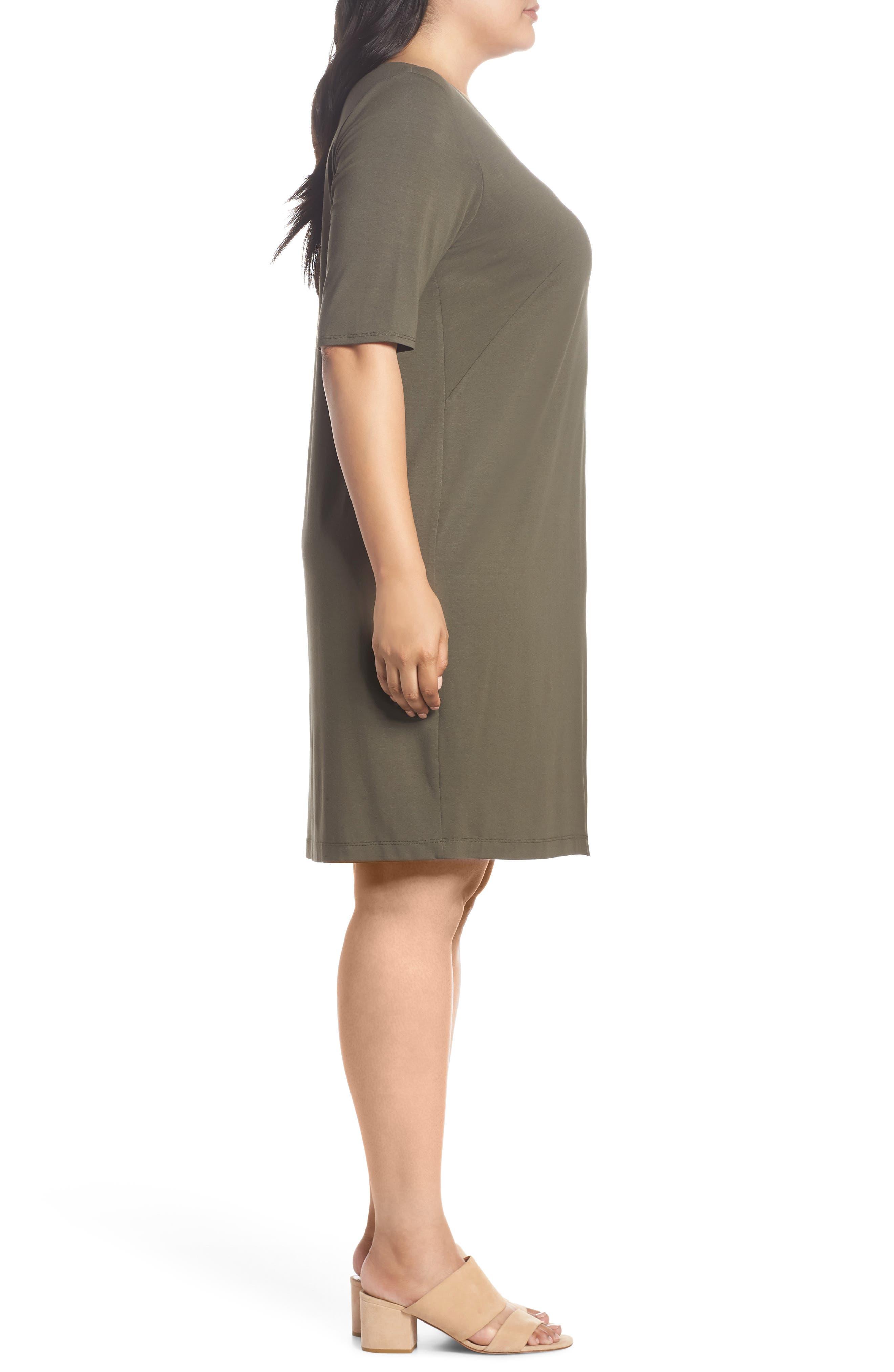 V-Neck Stretch Jersey Shift Dress,                             Alternate thumbnail 13, color,