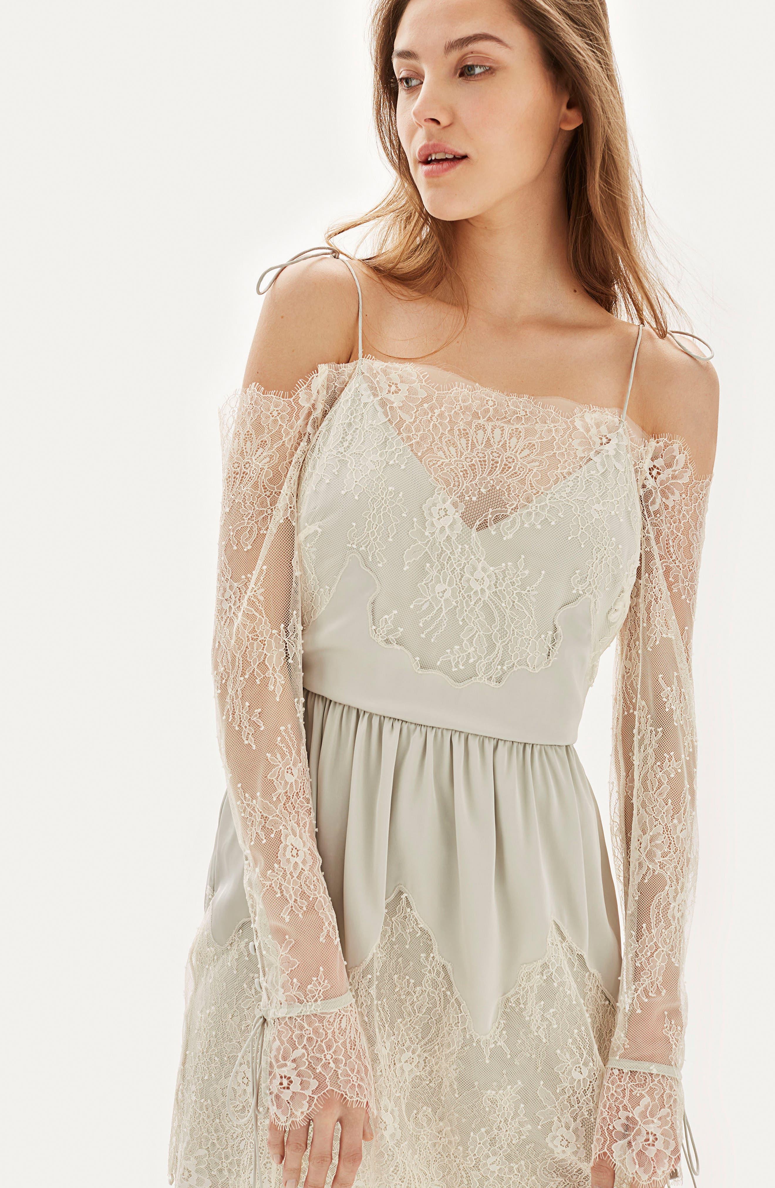 Bride Bardot Lace Off the Shoulder Gown,                             Alternate thumbnail 5, color,                             900