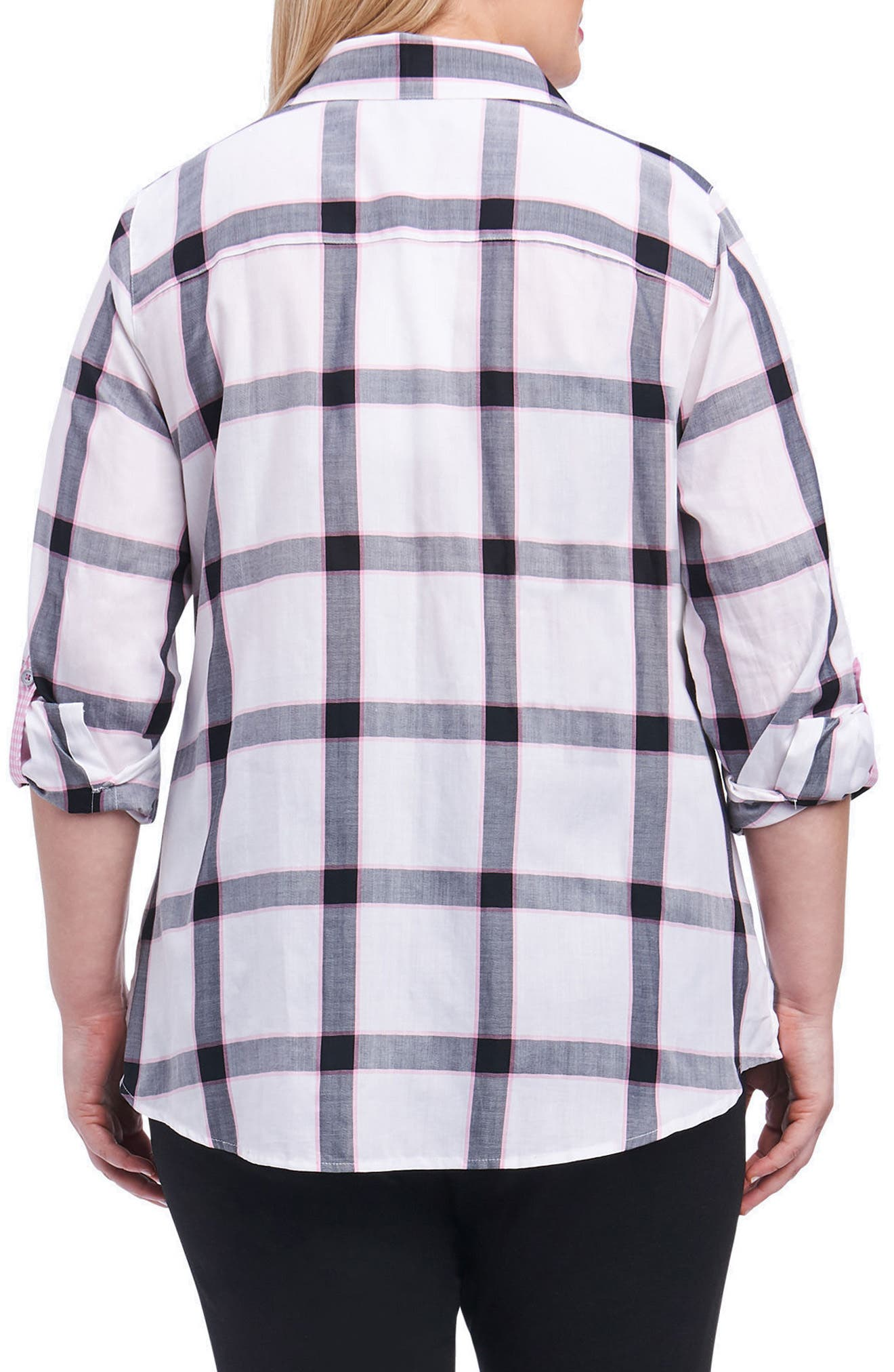 Zoey Herringbone Plaid Shirt,                             Alternate thumbnail 2, color,