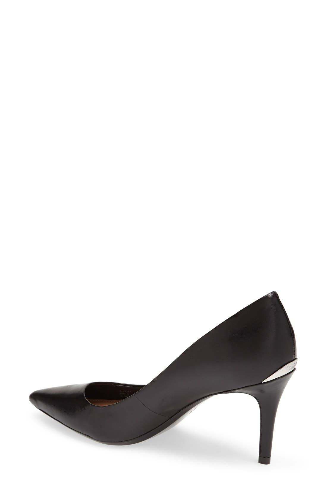 'Gayle' Pointy Toe Pump,                             Alternate thumbnail 2, color,                             BLACK LEATHER