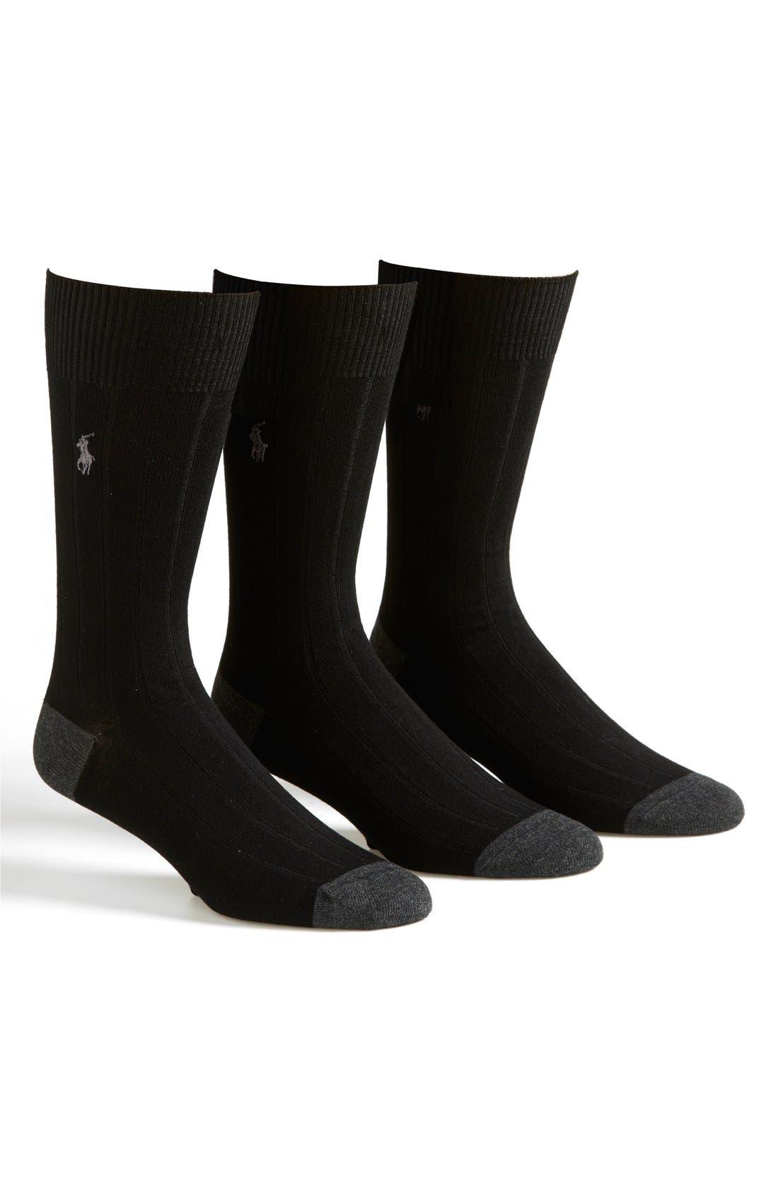 3-Pack Ribbed Socks,                             Main thumbnail 1, color,                             001