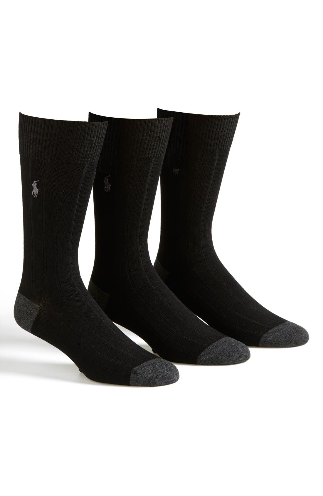 3-Pack Ribbed Socks,                         Main,                         color, 001