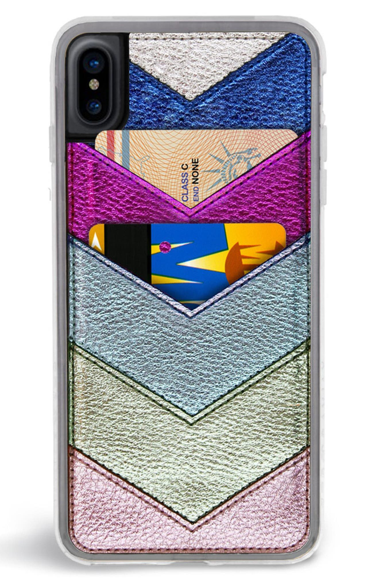 Chevron Faux Leather iPhone 6/6s/7/8 & 6/6s/7/8 Plus Case,                             Alternate thumbnail 4, color,                             650