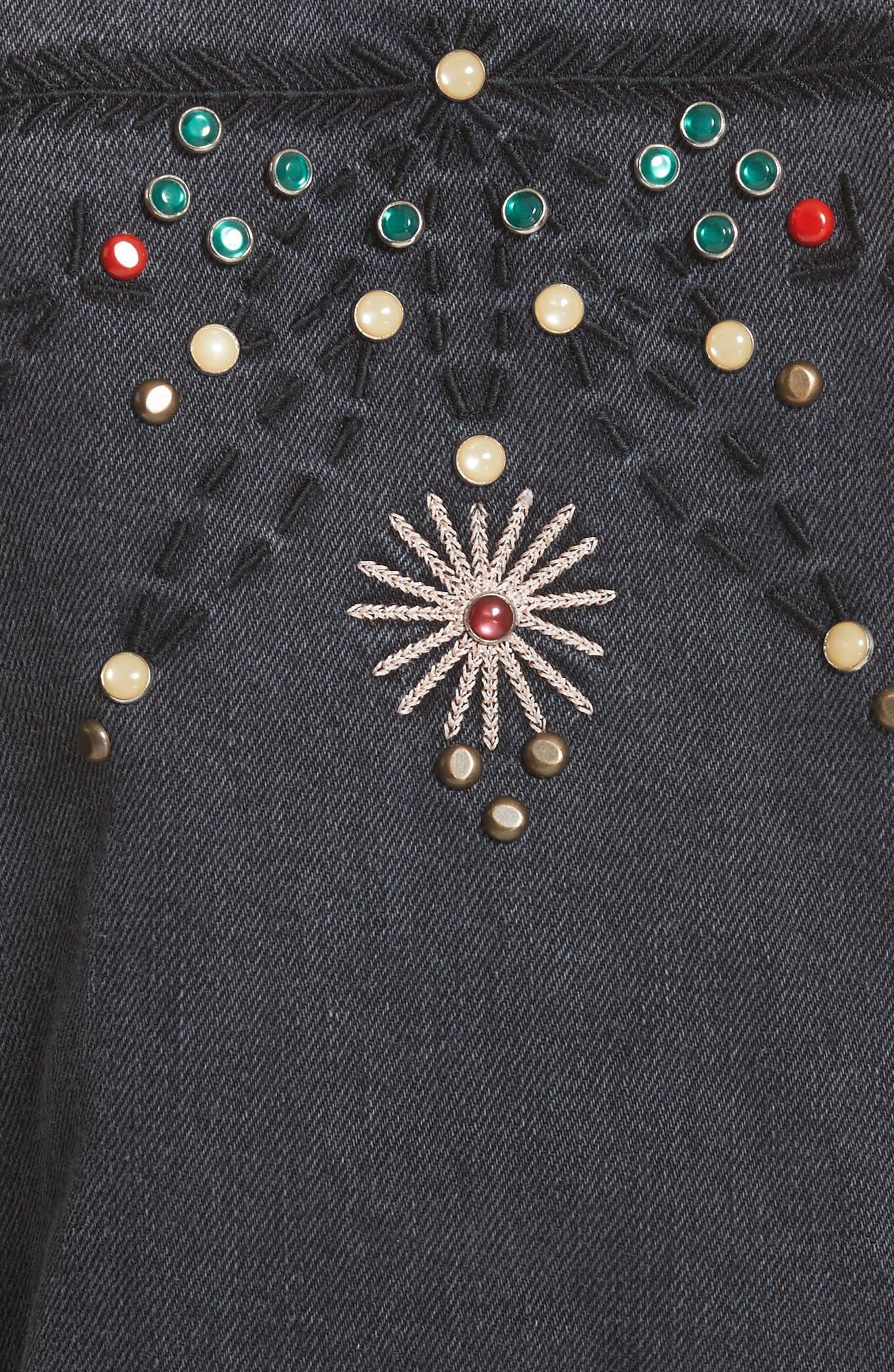 Isabel Marant Étoile Cabella Embellished Denim Jacket,                             Alternate thumbnail 6, color,