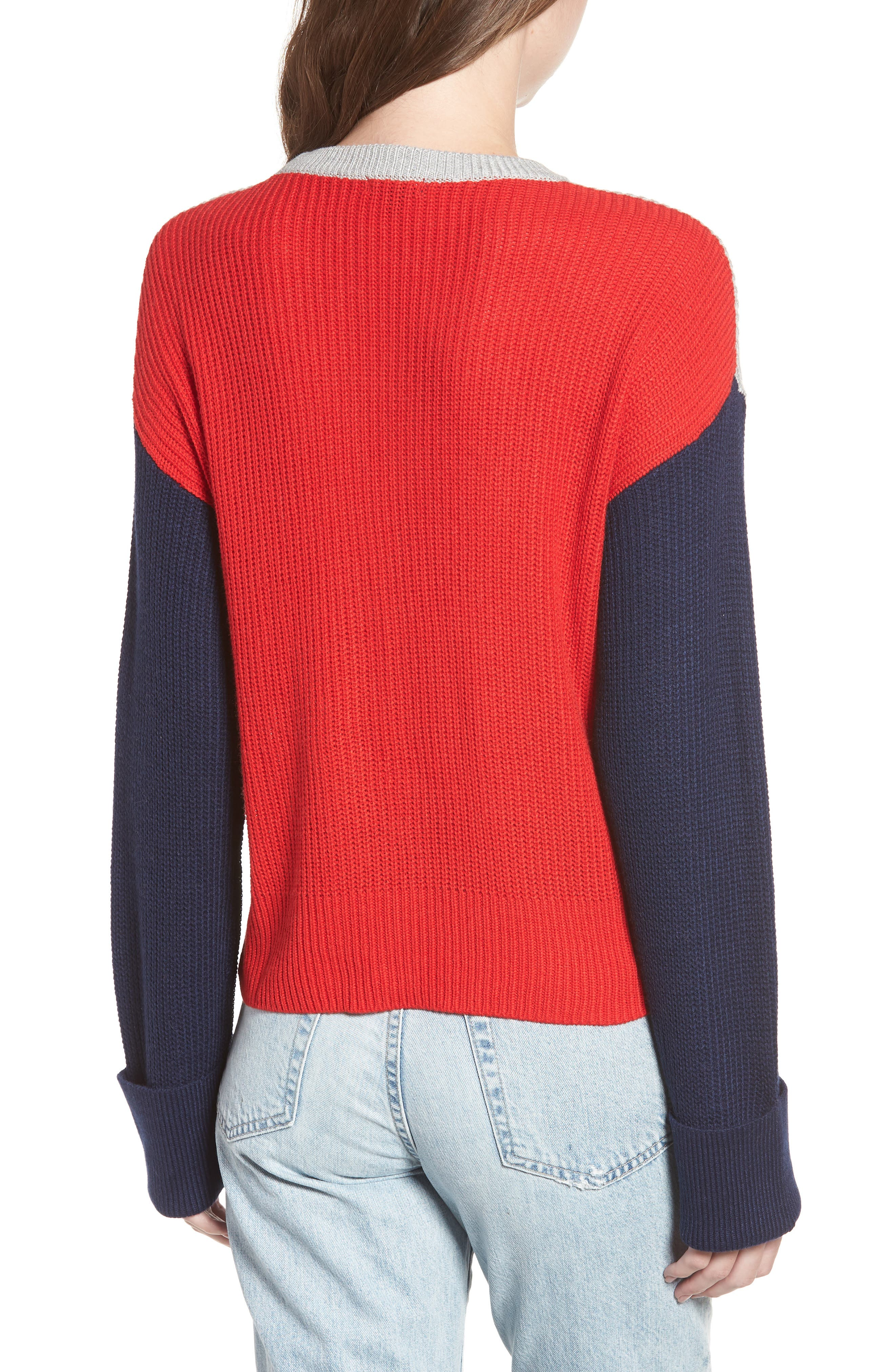 Colorblock Sweater,                             Alternate thumbnail 2, color,                             GREY/ NAVY