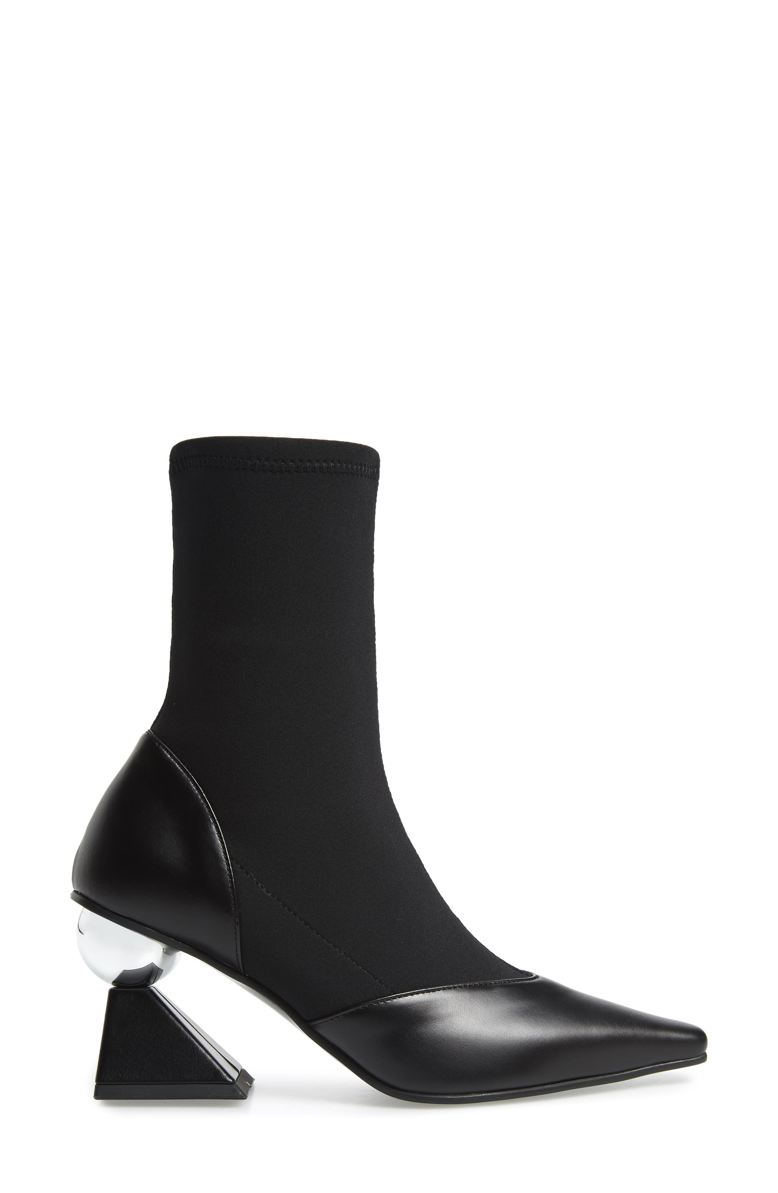 Statement Heel Sock Bootie,                             Alternate thumbnail 3, color,                             BLACK/ SILVER