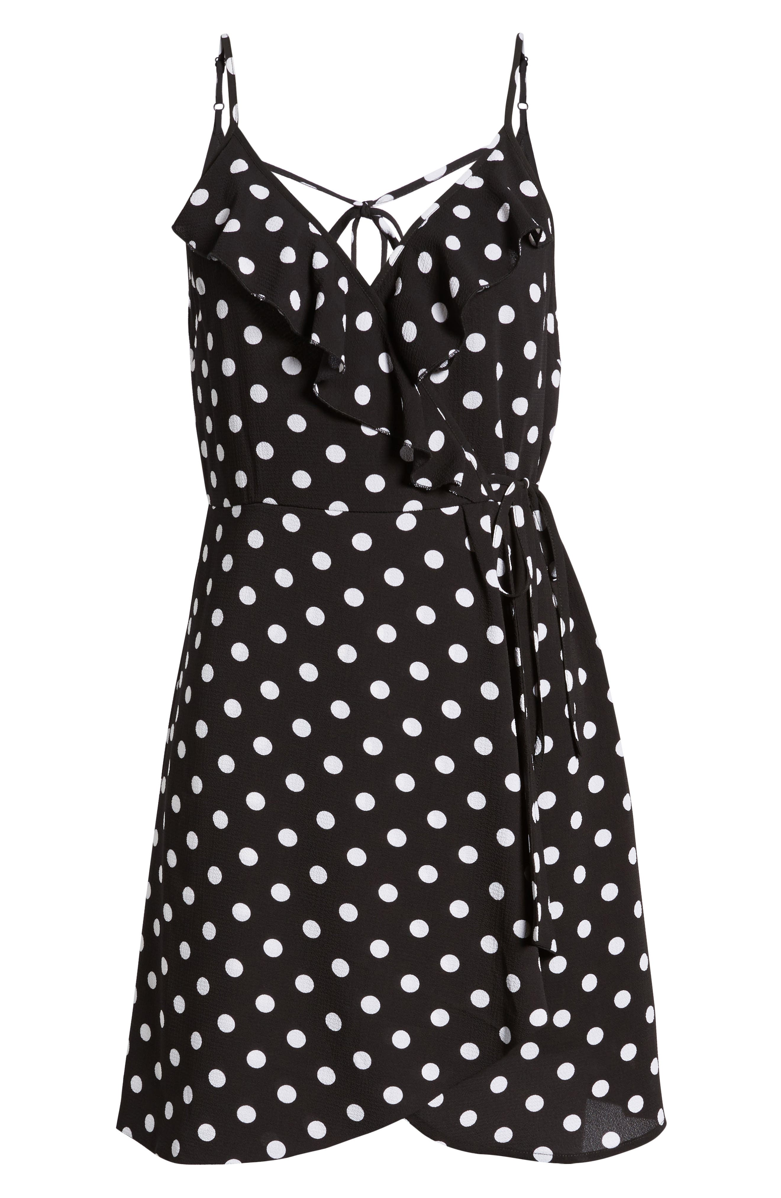 Polka Dot Faux Wrap Dress,                             Alternate thumbnail 6, color,                             001