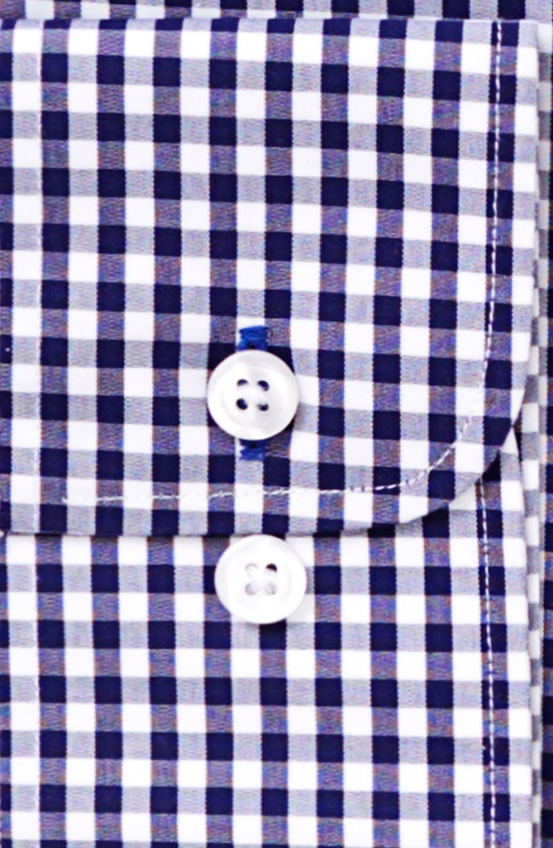 Slim Fit Wrinkle Free Check Dress Shirt,                             Alternate thumbnail 2, color,                             NAVY