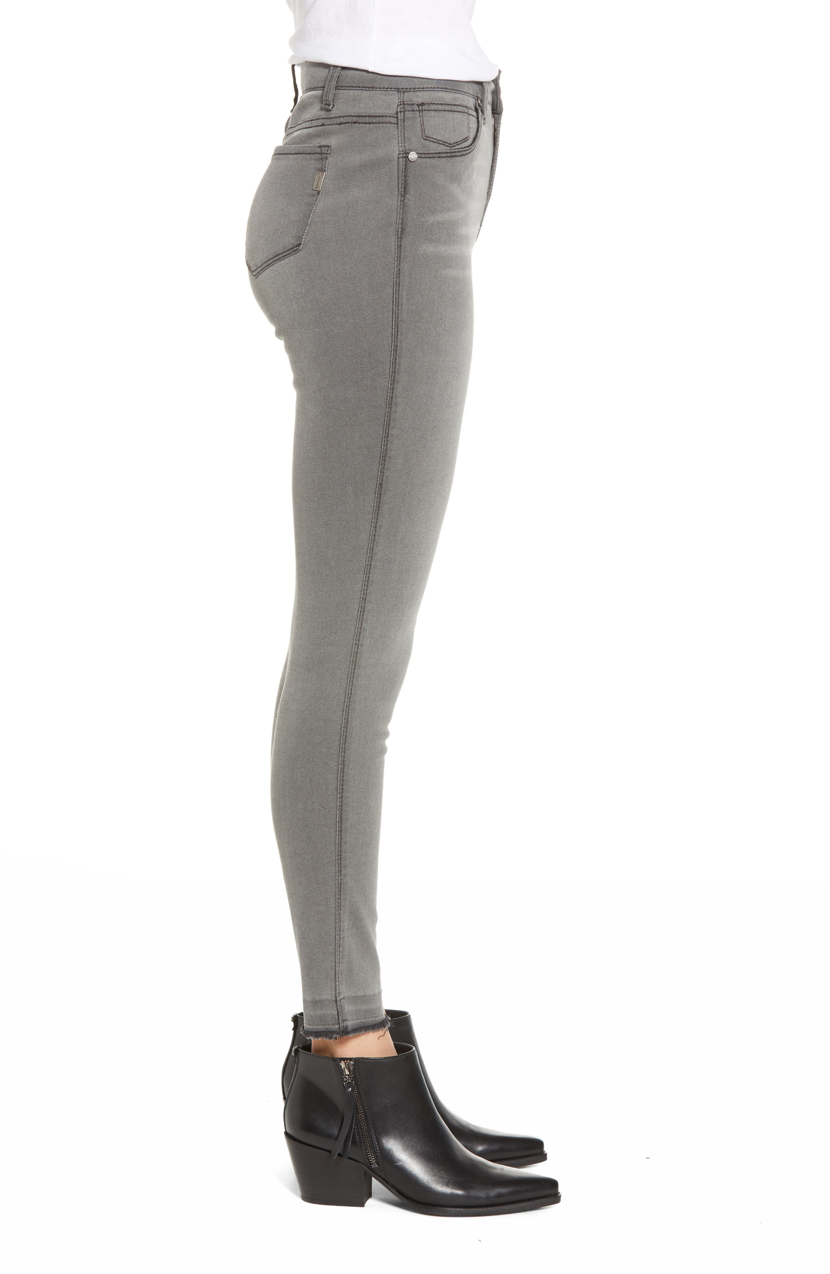 High Waist Ankle Skinny Jeans,                             Alternate thumbnail 3, color,                             ASHLEY