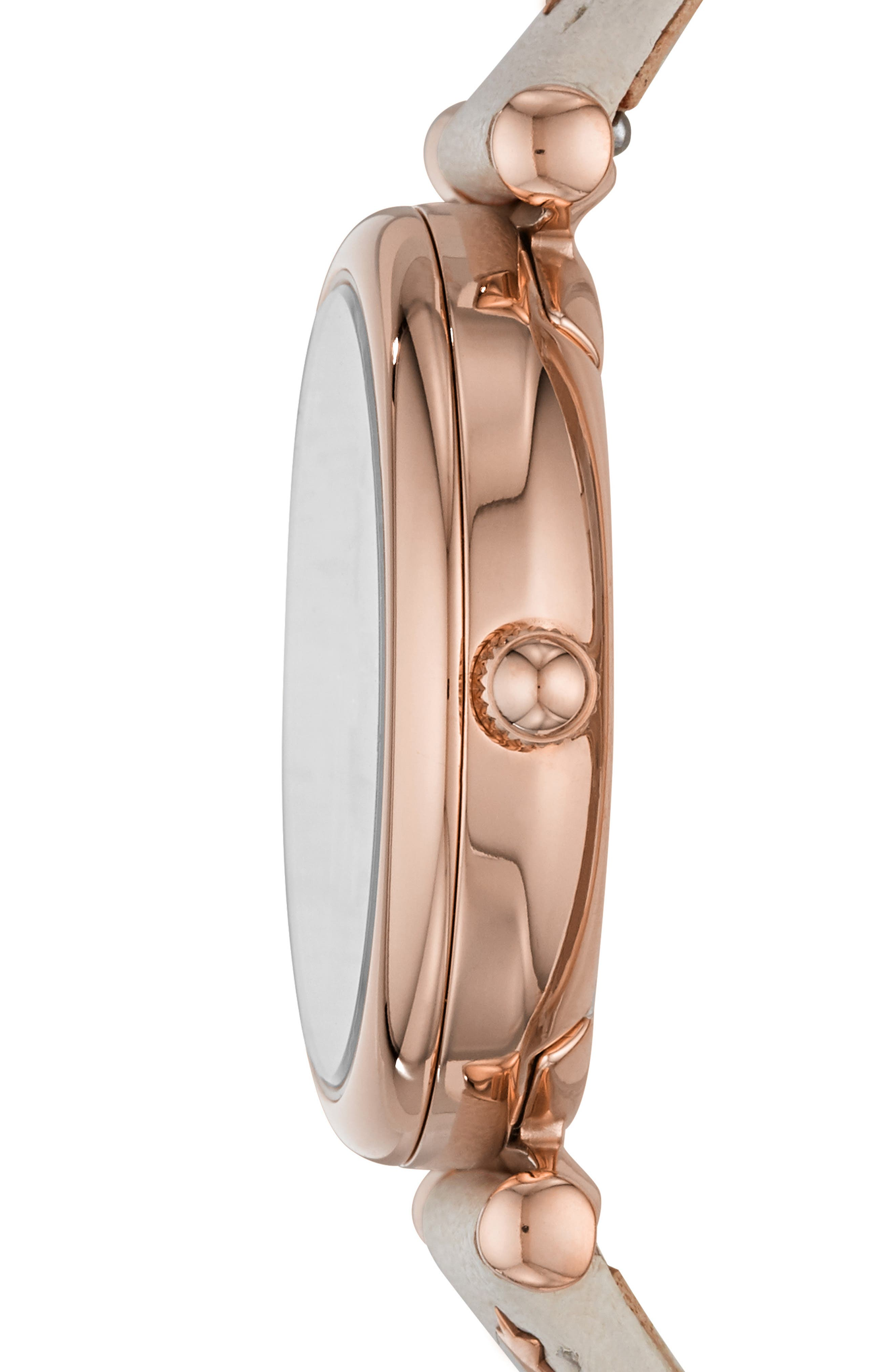 Mini Carlie Star Leather Strap Watch, 28mm,                             Alternate thumbnail 2, color,                             WHITE/ MOP/ ROSE GOLD