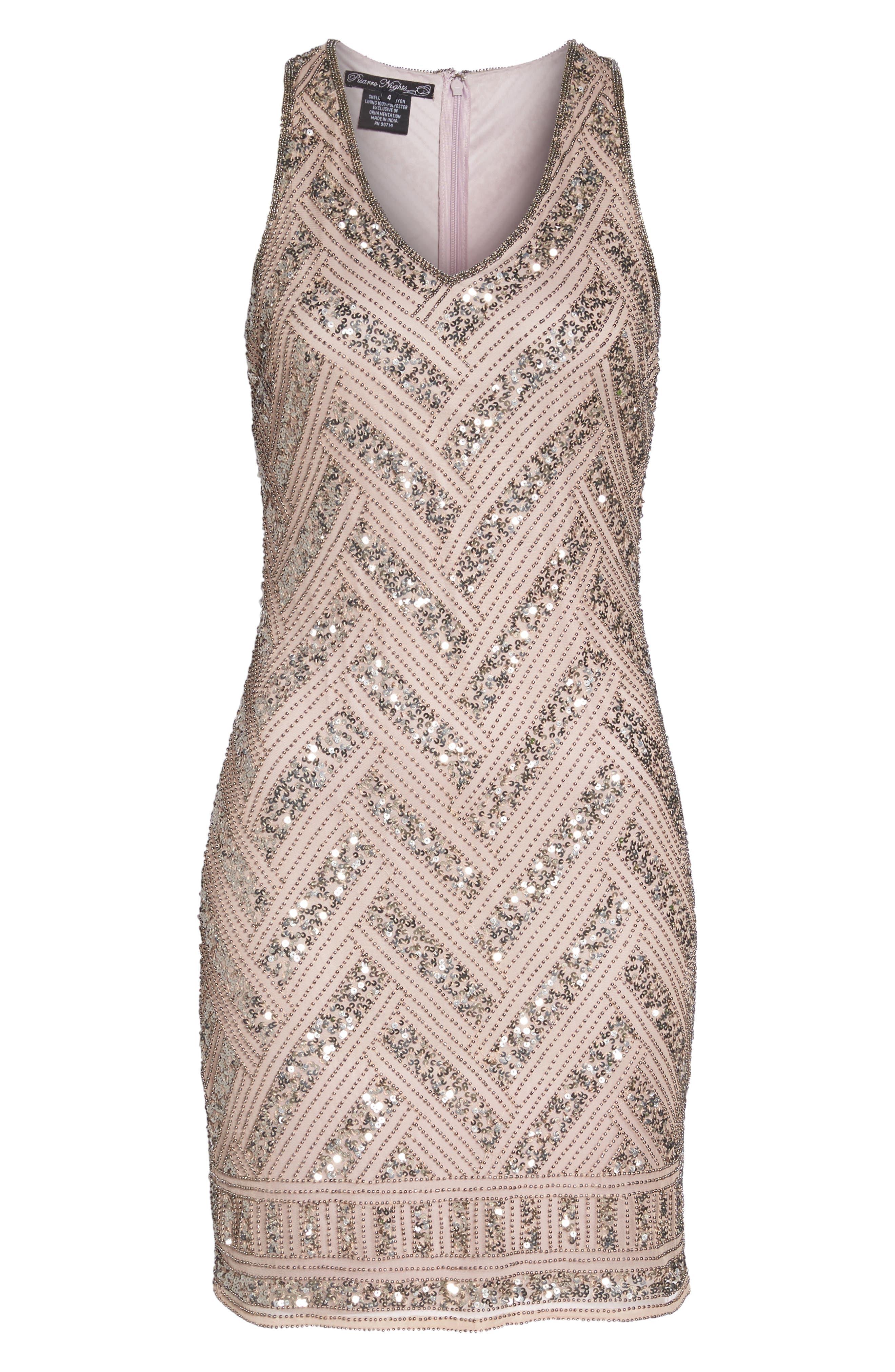 Beaded V-Neck Sheath Dress,                             Alternate thumbnail 6, color,                             LIGHT LAVENDER
