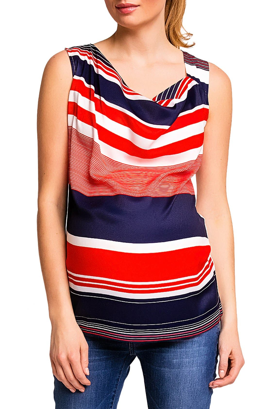 'Fialka' Maternity Top,                             Main thumbnail 1, color,                             RED/BLUE STRIPES