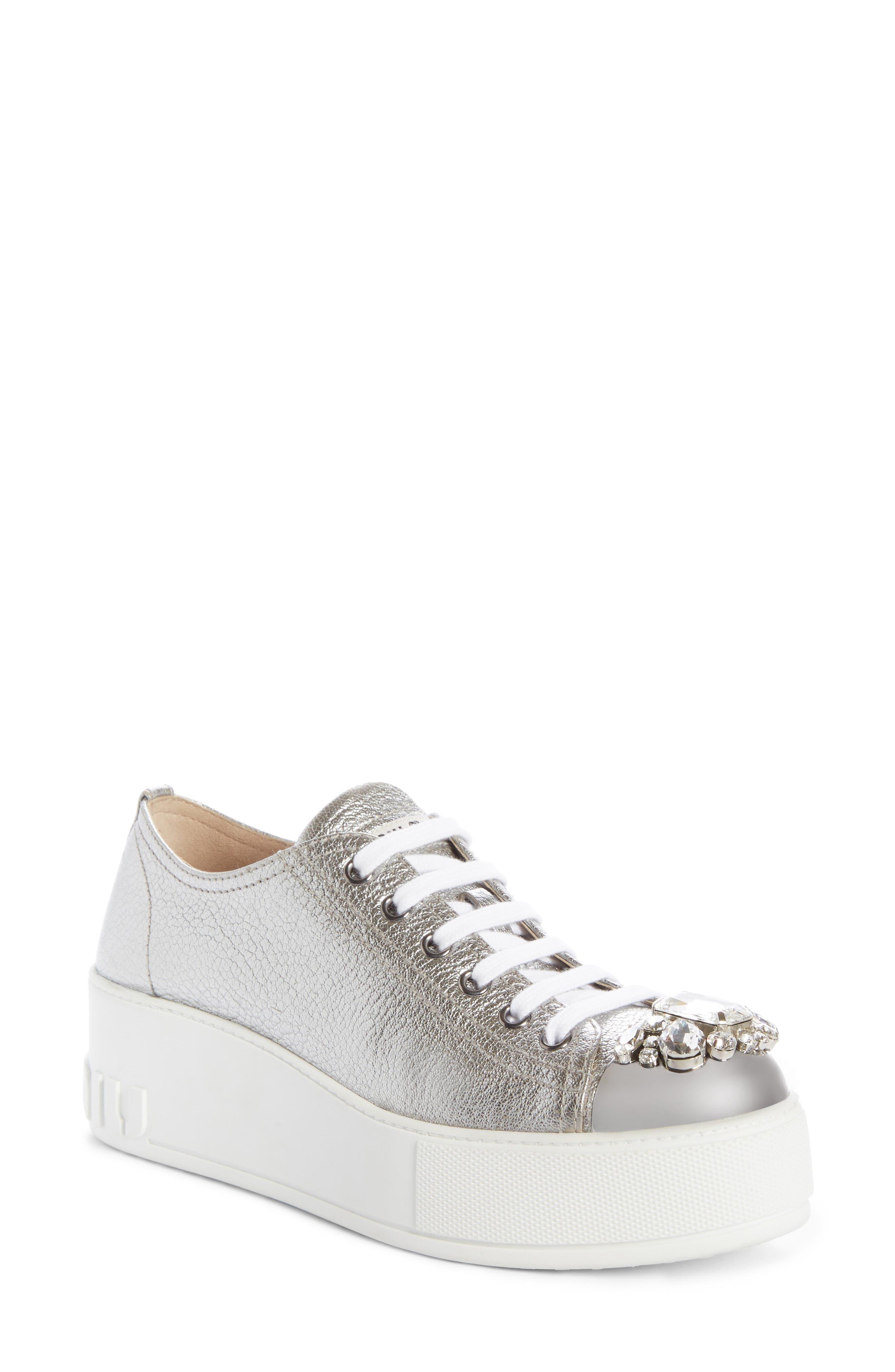 Crystal Cap Toe Sneaker,                         Main,                         color, SILVER