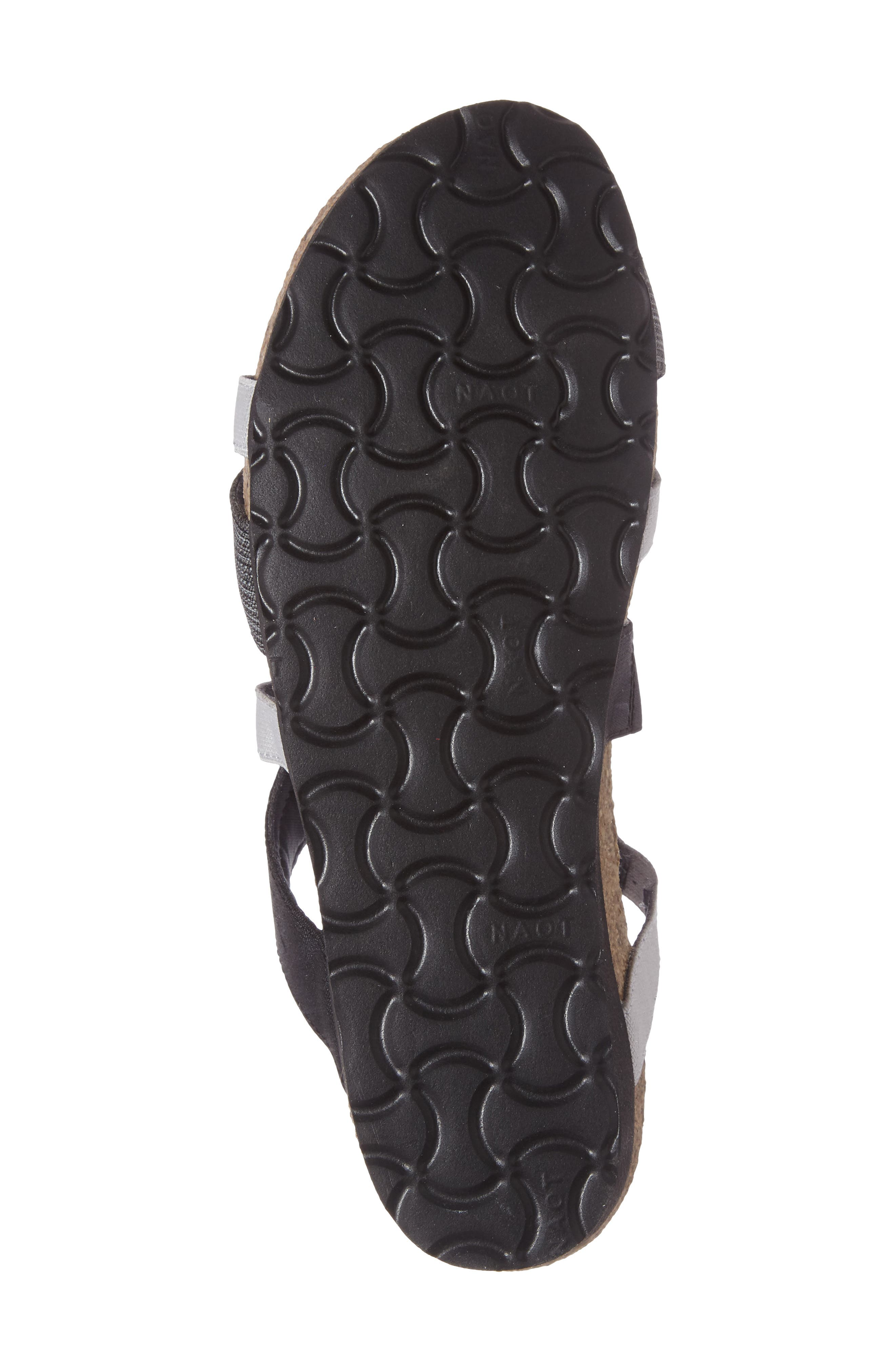 Roxana Strappy Slip-On Sandal,                             Alternate thumbnail 4, color,                             BLACK/ GREY FABRIC